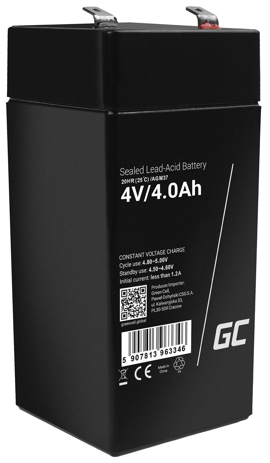 Green Cell Bezúdržbová baterie AGM VRLA Green Cell 4V 4,5Ah pro zabezpečovací systémy a hračky