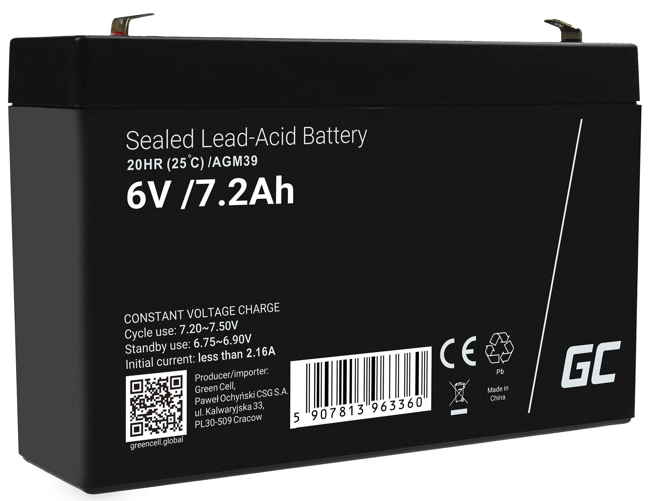 Green Cell Staniční (záložní) Baterie 6V 7.2Ah
