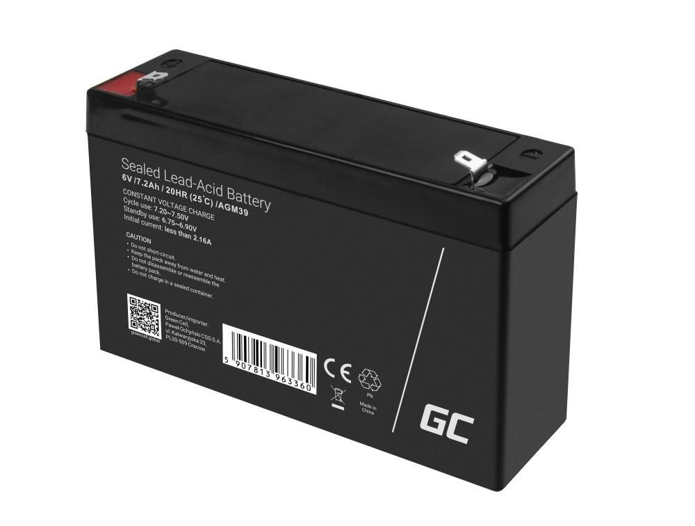 Green Cell Bezúdržbová baterie AGM VRLA Green Cell 6V 7,2 Ah pro poplašné systémy a hračky