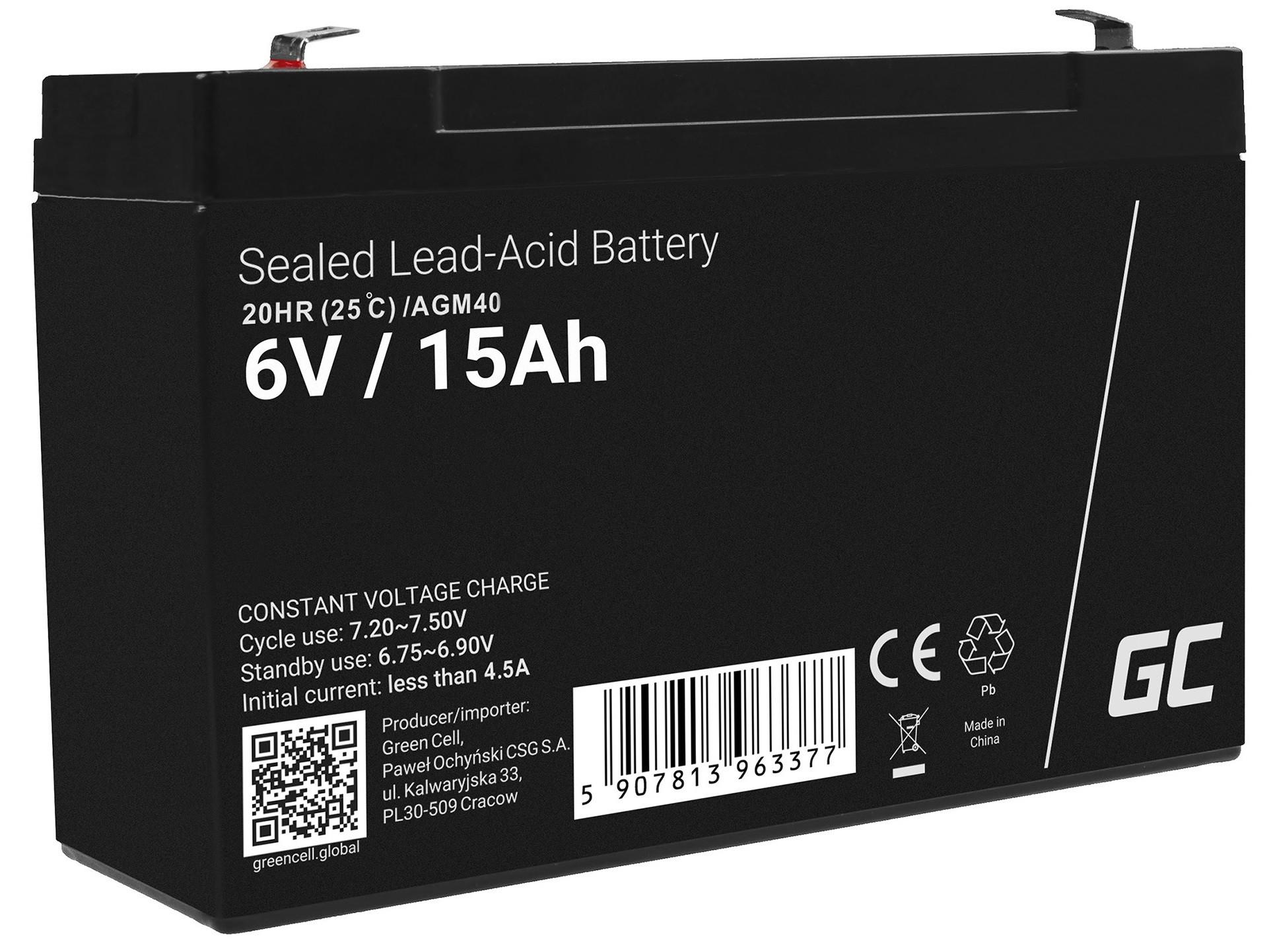Green Cell Bezúdržbová baterie AGM VRLA Green Cell 6V 15Ah pro poplašné systémy a hračky