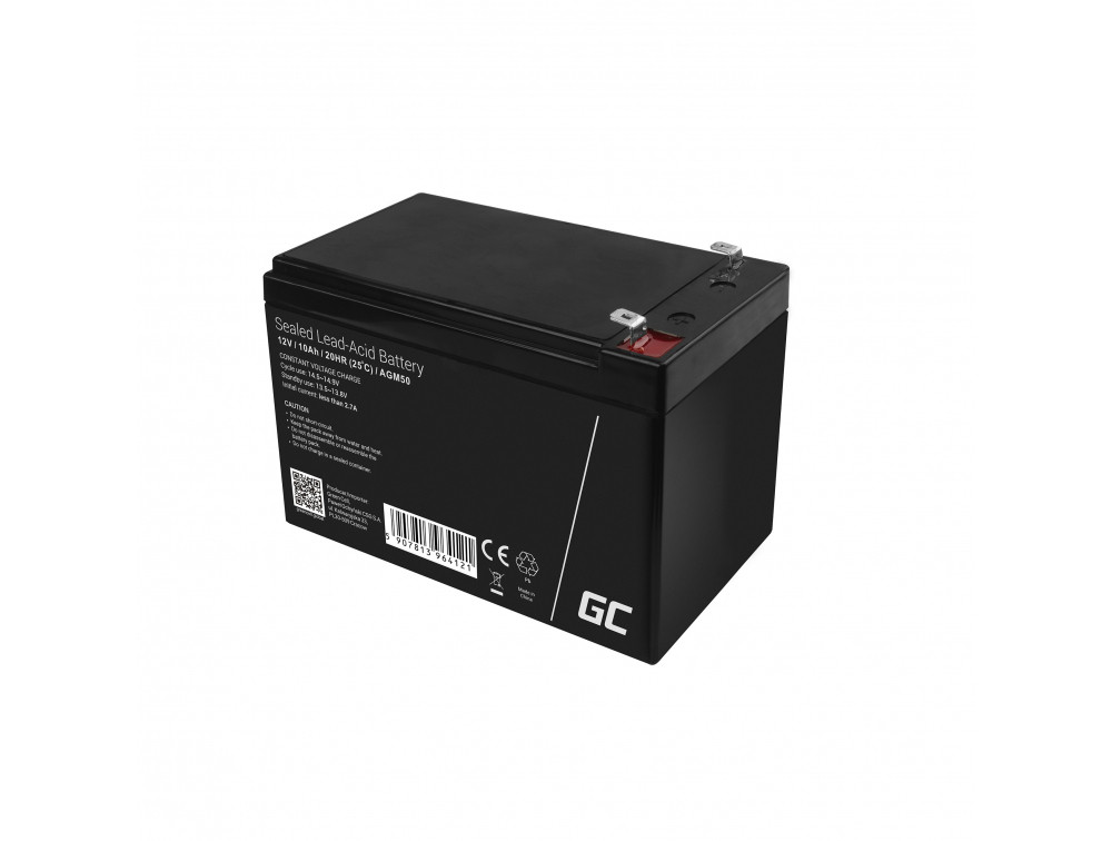 Green Cell AGM baterie AGM 12V 10Ah akumulátorová baterie bezúdržbová pro záložní zdroje UPS