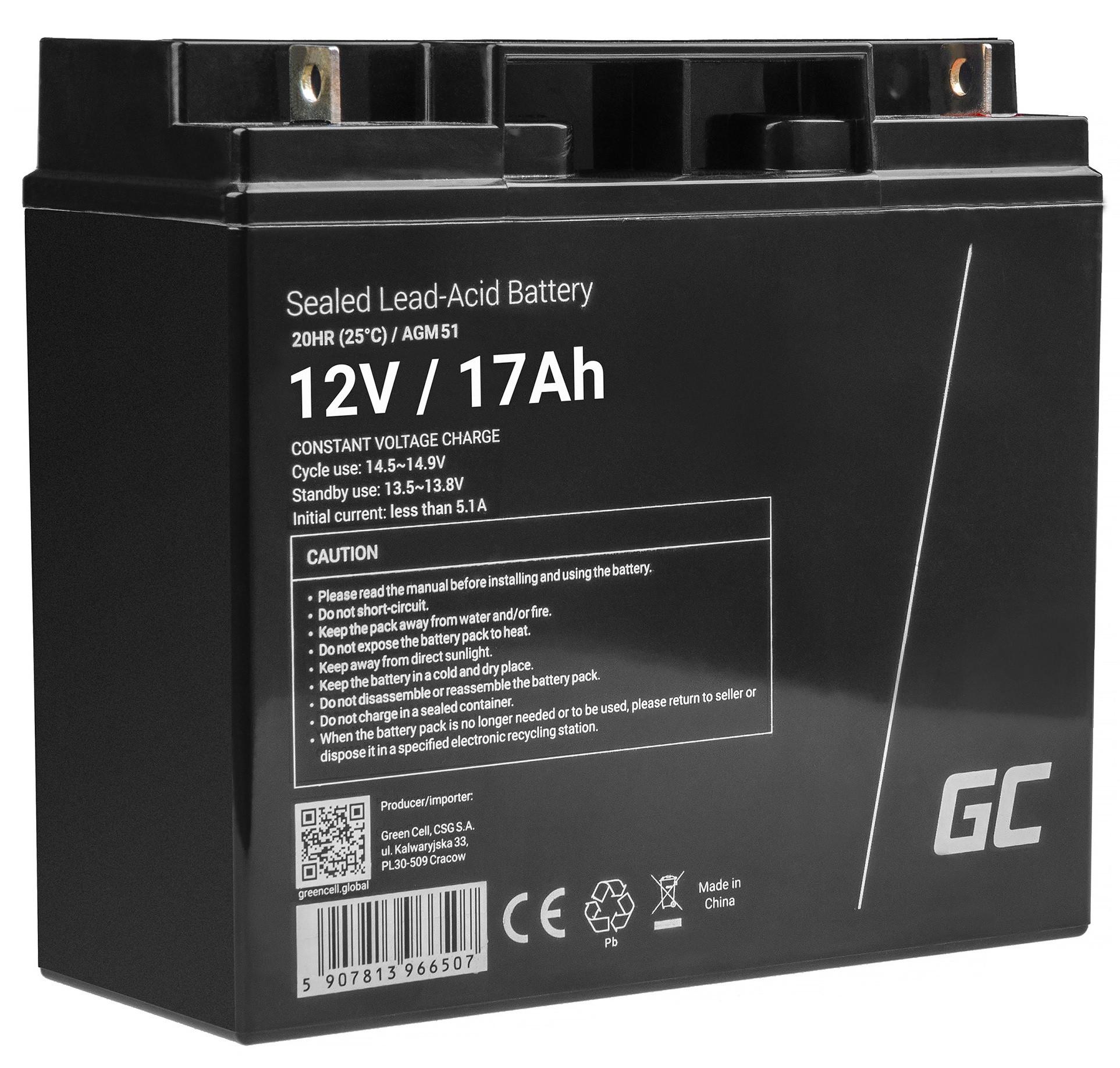 Green Cell Staniční (záložní) Baterie 12V 17Ah