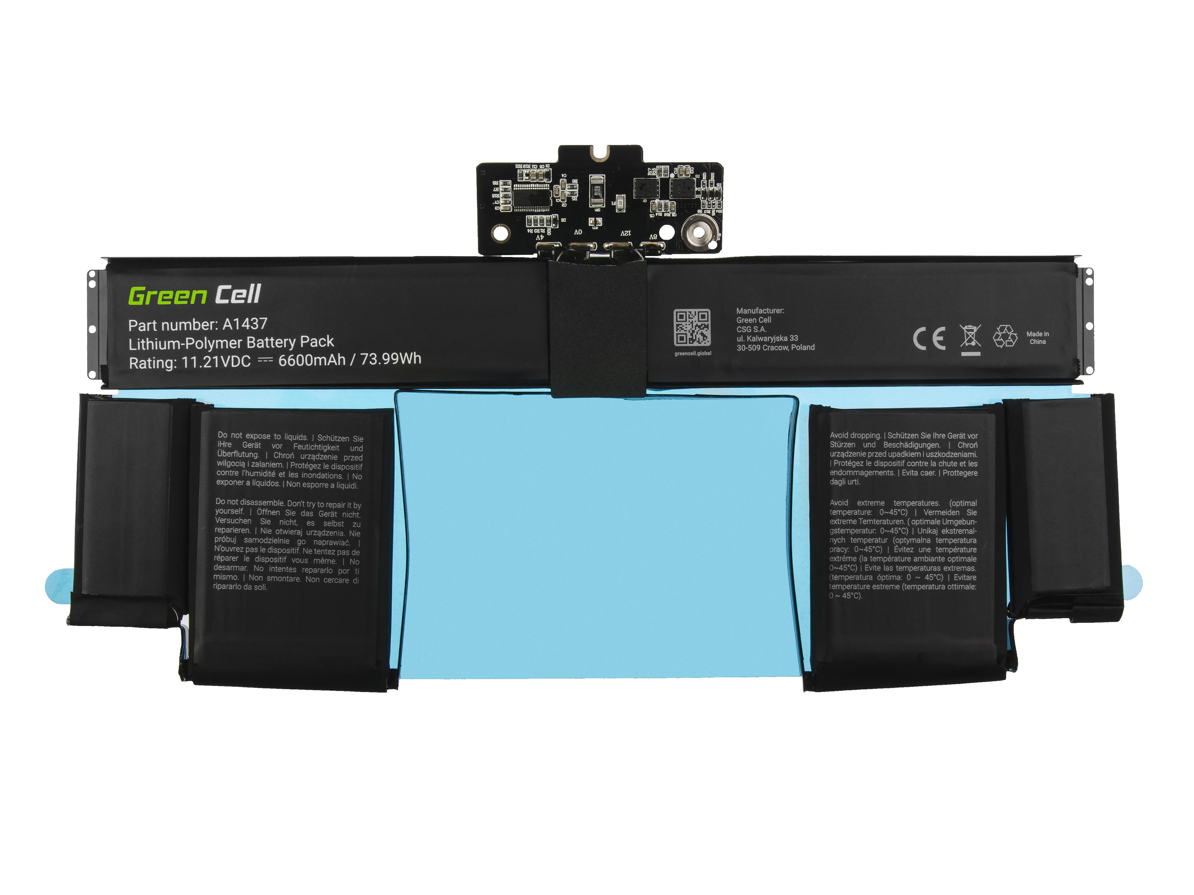 Green Cell AP16 Baterie Apple A1437, Apple MacBook Pro 13 A1425 (Late 2012, Early 2013) 74Wh Li-Pol – neoriginální