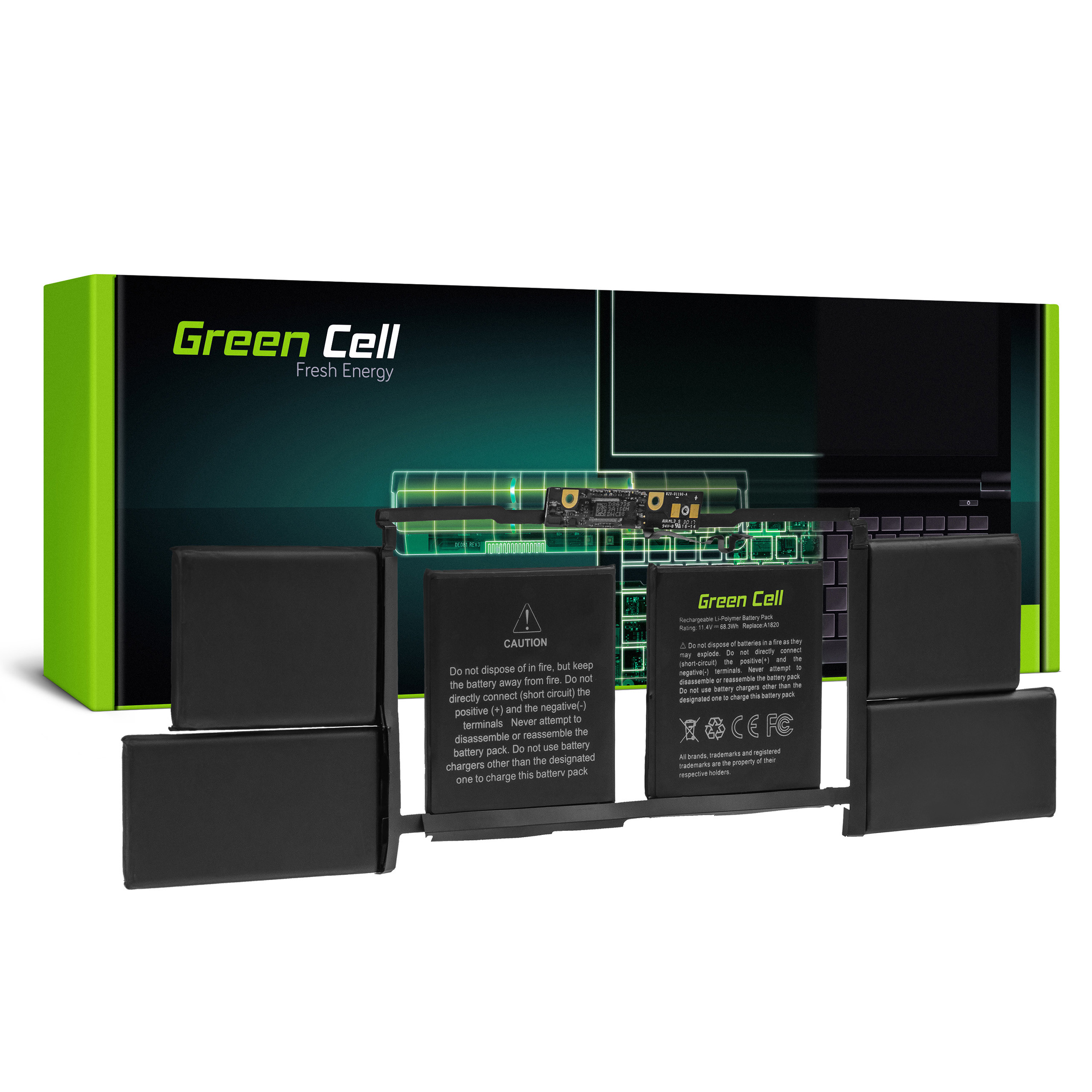 Green Cell Baterie A1820 pro Apple MacBook Pro 15 A1707 (2016 i 2017)