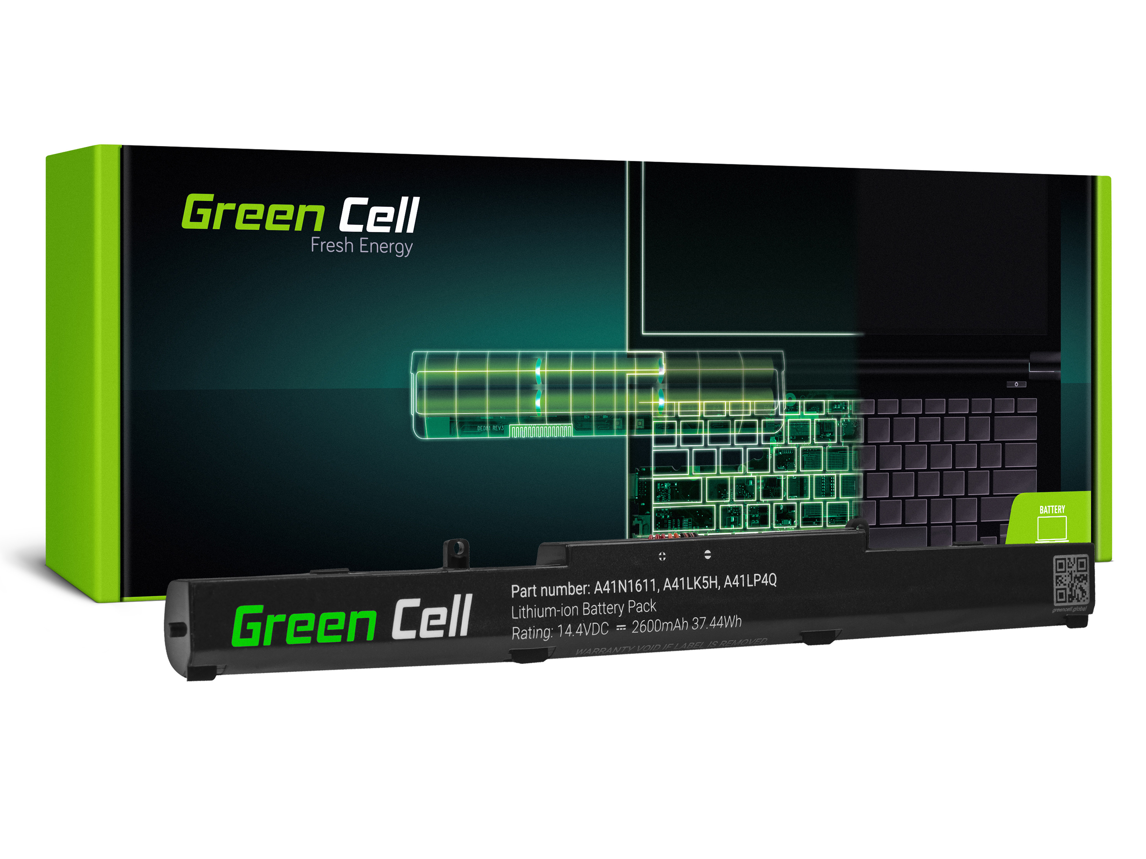 Green Cell AS153 Baterie Asus A41N1611,Asus GL553 GL553V GL553VD GL553VE GL553VW GL753 GL753V GL753VD GL753VE FX553V FX753 FX753V 2600mAh Li-ion - neoriginální