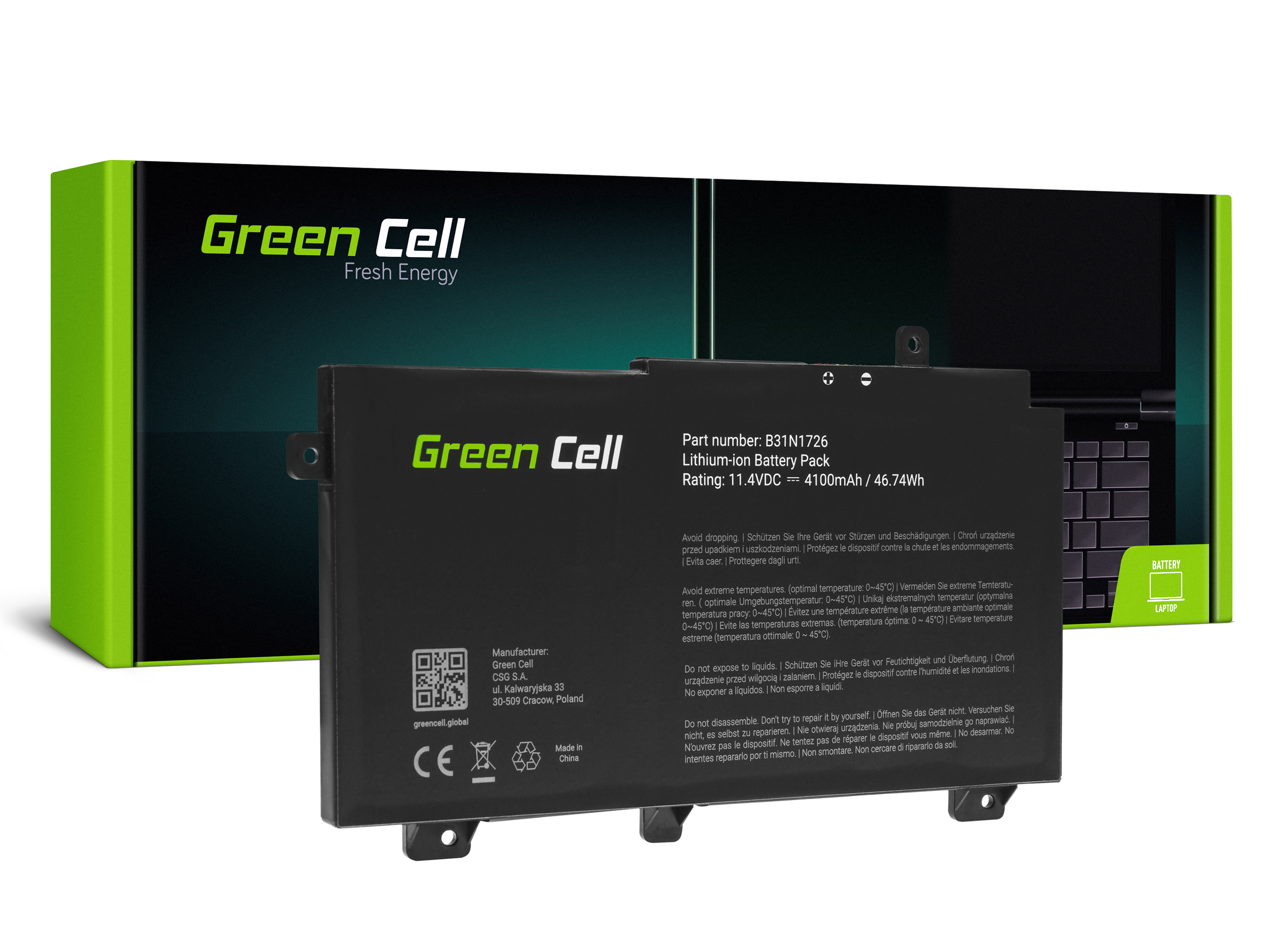 Battery Green Cell B31N1726 for Asus TUF Gaming FX504 FX504G FX505 FX505D FX505G A15 FA506 A17 FA706