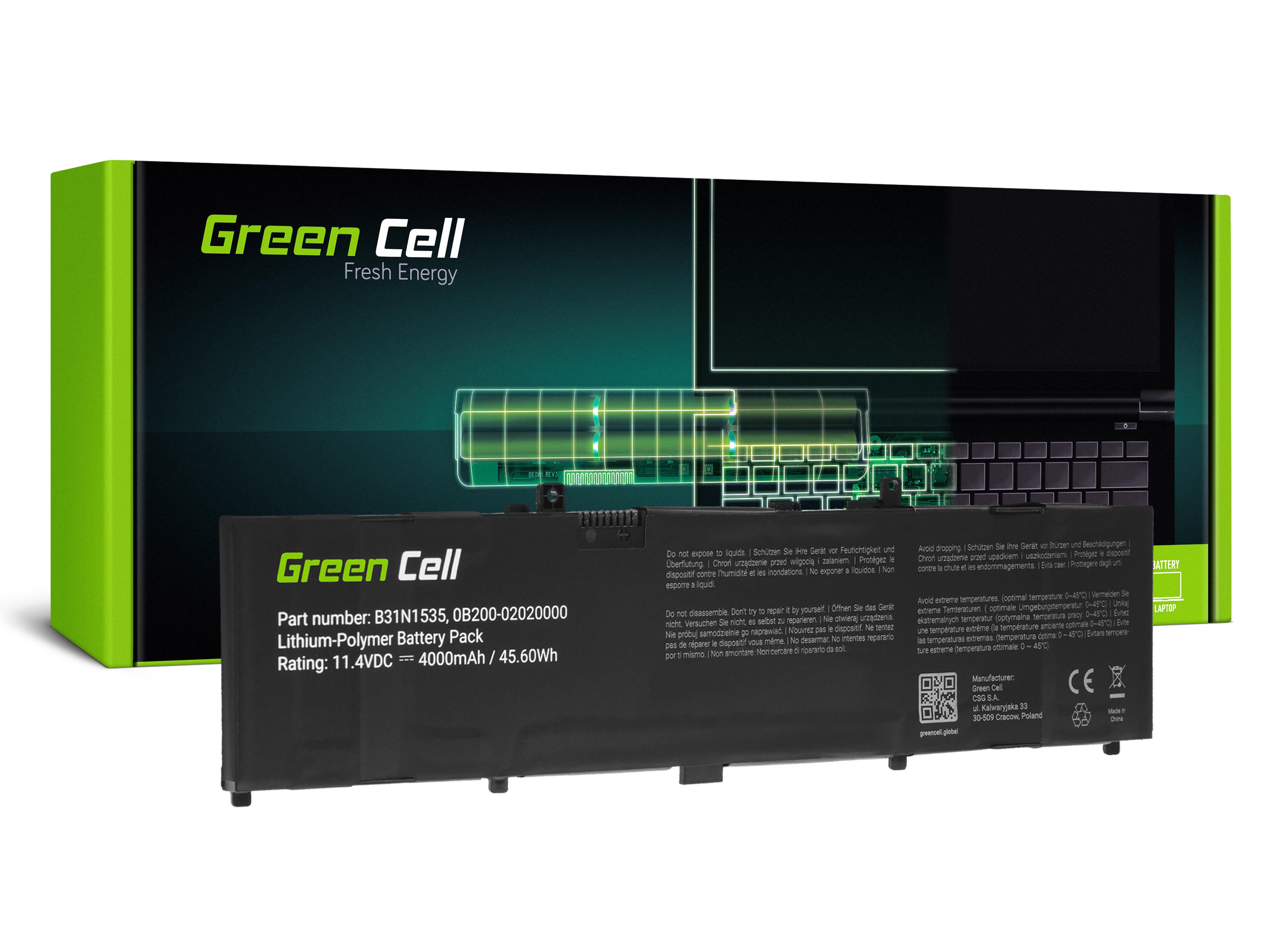 Green Cell AS158 Baterie Asus B31N1535, Asus Asus ZenBook UX310 UX310U UX310UA UX310UQ UX410 UX410U UX410UA UX410UF UX410UQ UX3410 UX3410U 4000mAh Li-Pol – neoriginální