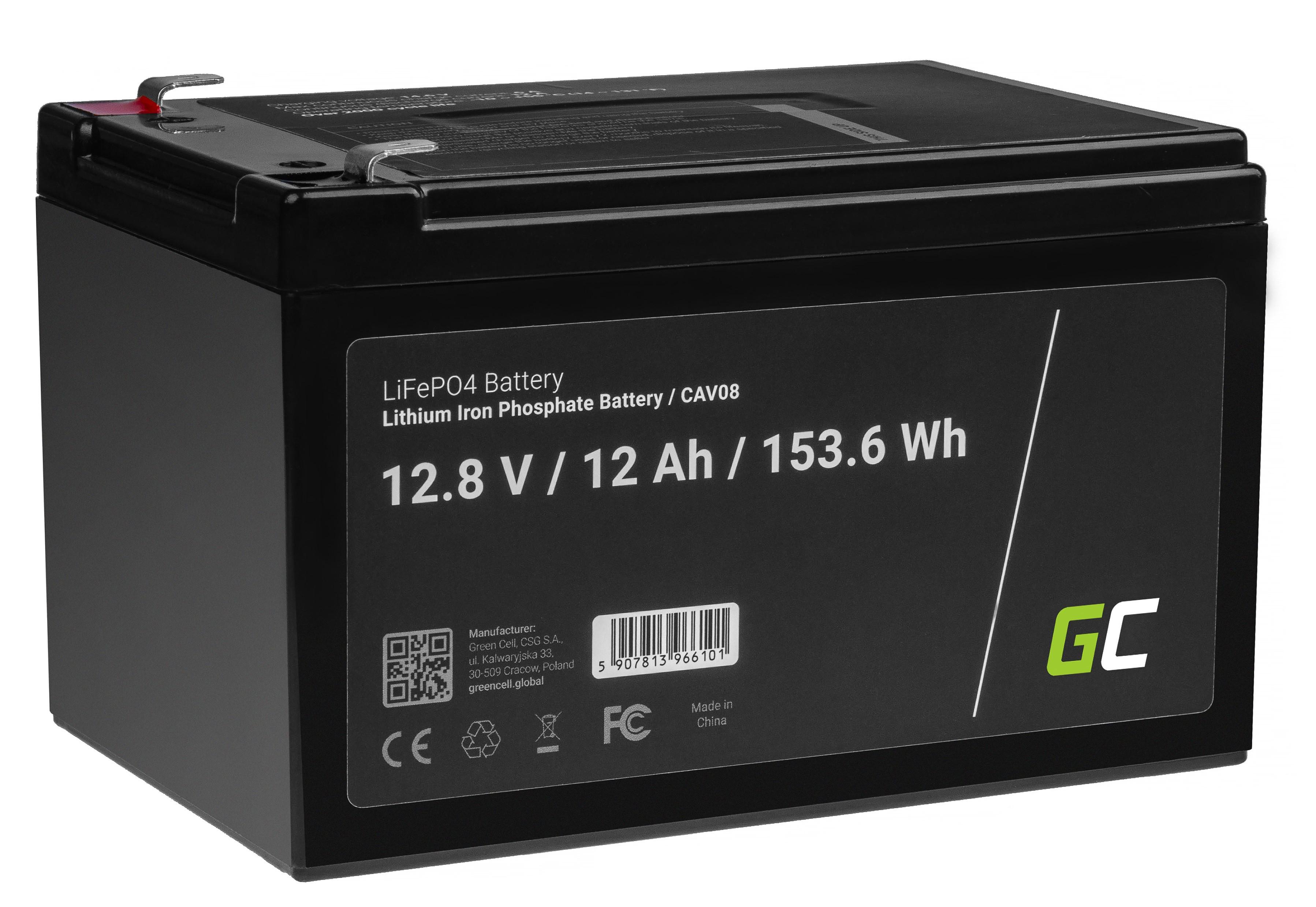 Baterie Green Cell Lithium-železo-fosfátová LiFePO4 baterie s nabíječkou 12V, 12,8V 12Ah pro solární panely, obytné automobily a lodě
