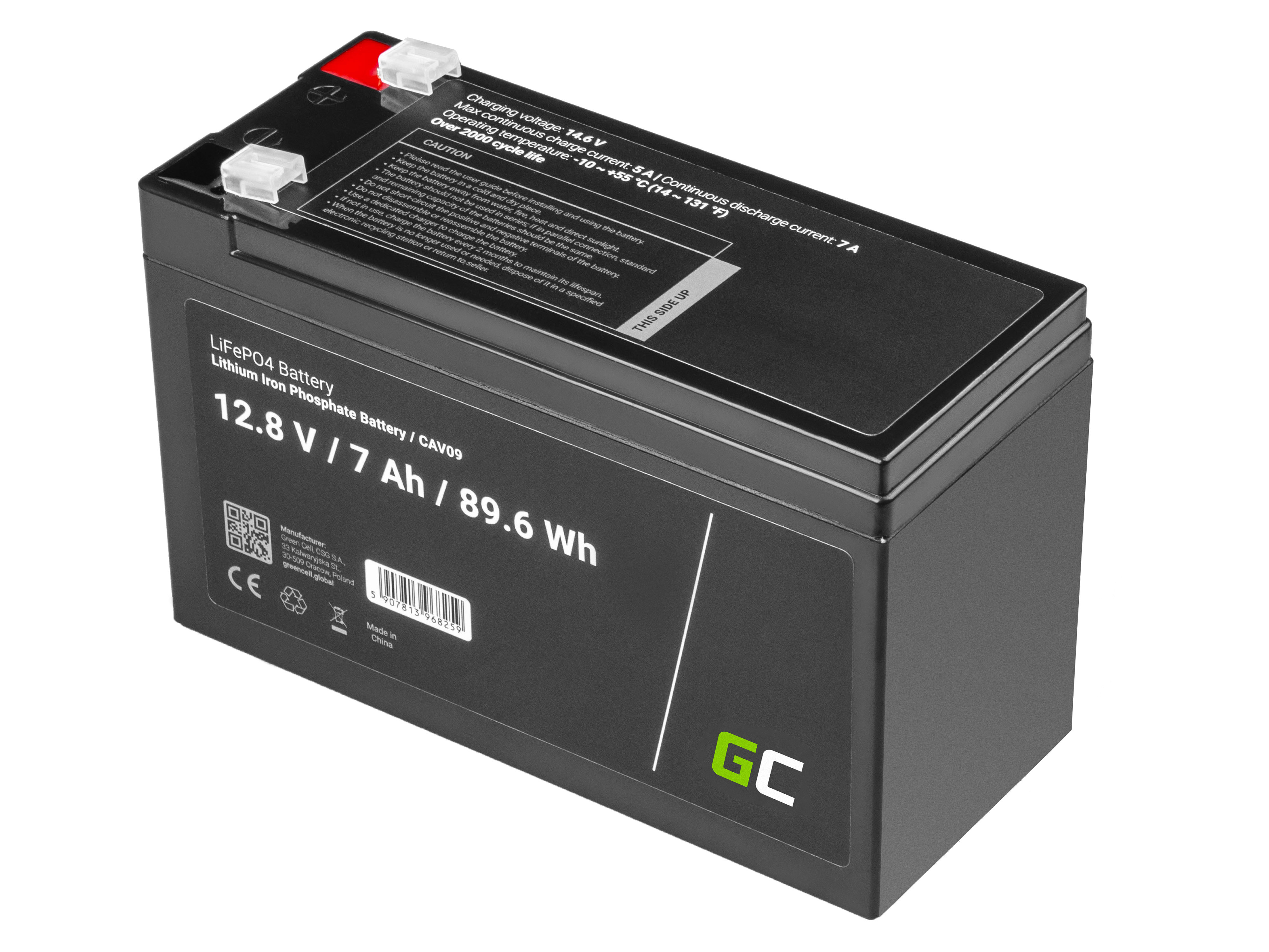 Battery Lithium-iron-phosphate LiFePO4 Green Cell 12V 12.8V 7Ah for photovoltaic system, campers and boats