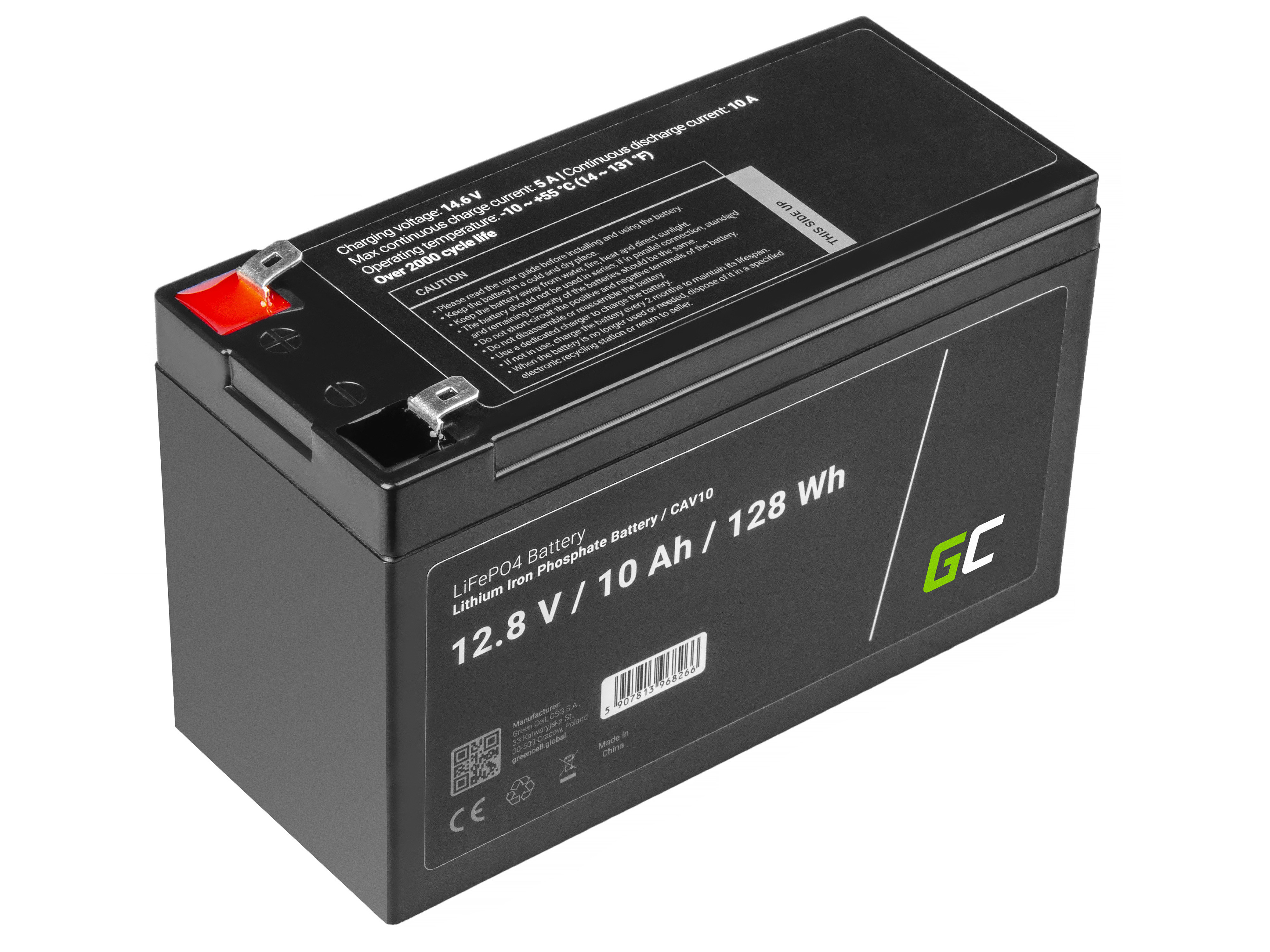 Battery Lithium-iron-phosphate LiFePO4 Green Cell 12V 12.8V 10Ah for photovoltaic system, campers and boats