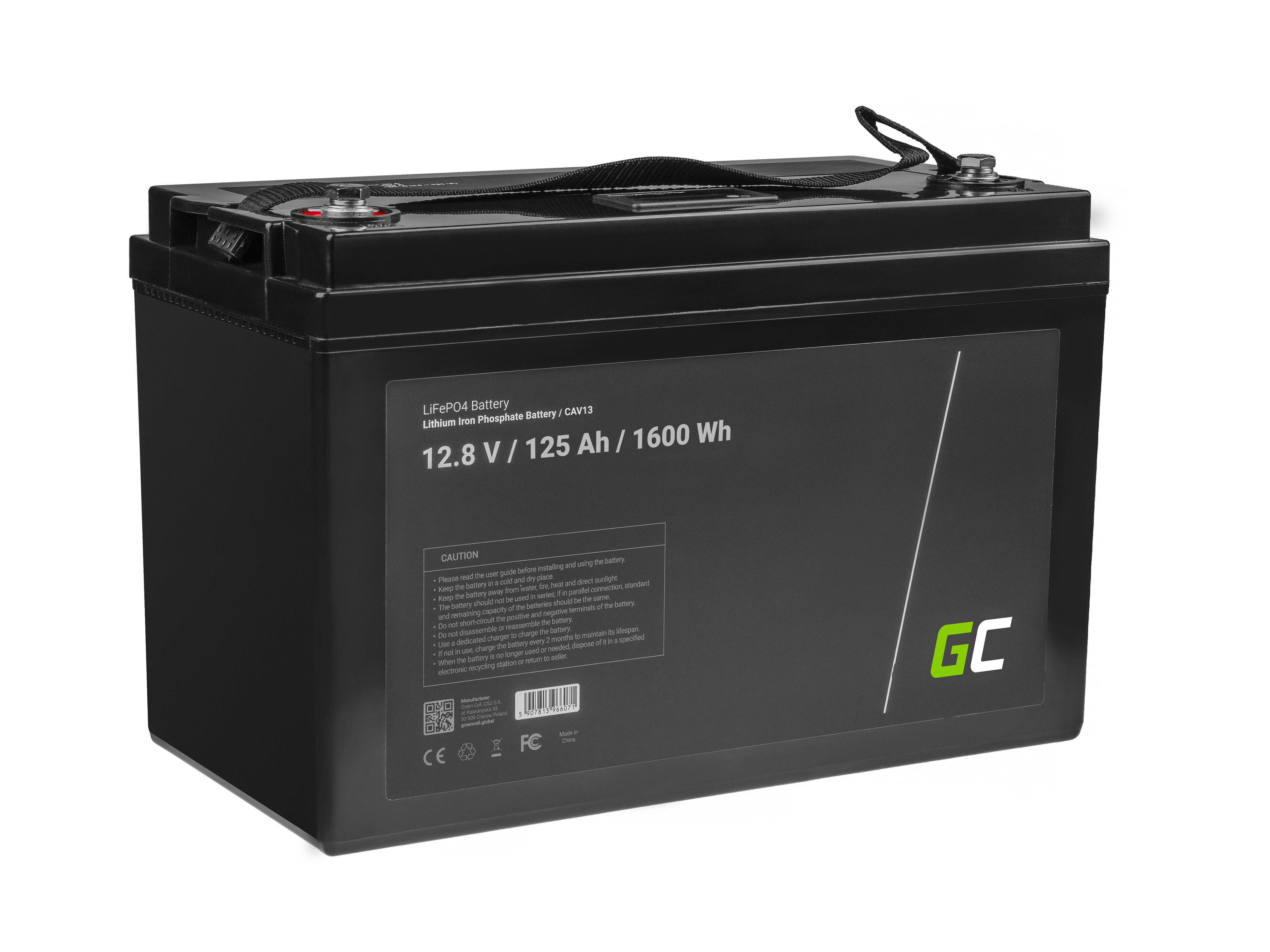 Battery Lithium-iron-phosphate LiFePO4 Green Cell 12V 12.8V 125Ah for photovoltaic system, campers and boats