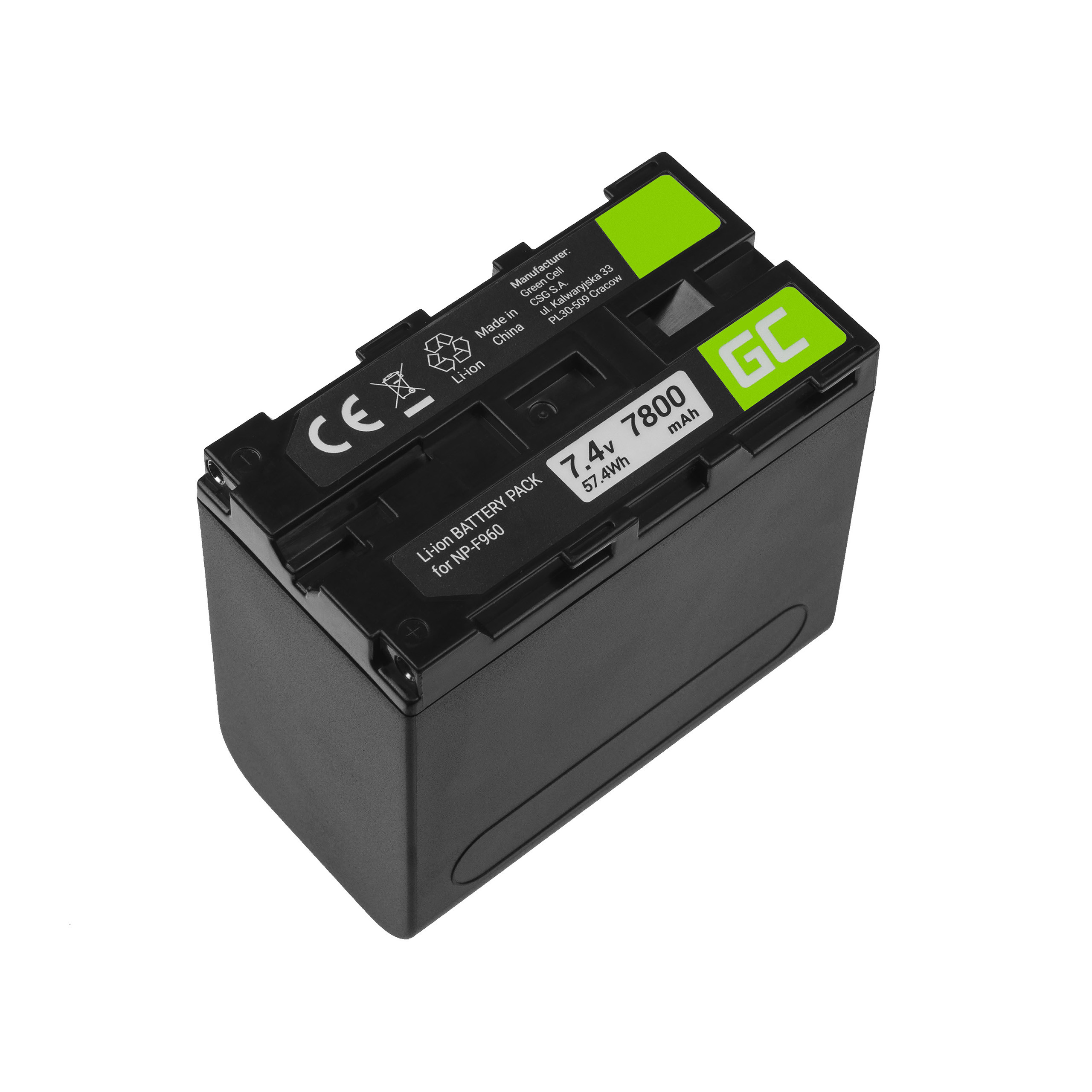 Green Cell Battery NP-F960 NP-F970 NP-F975 for Sony 7.4V 7800mAh