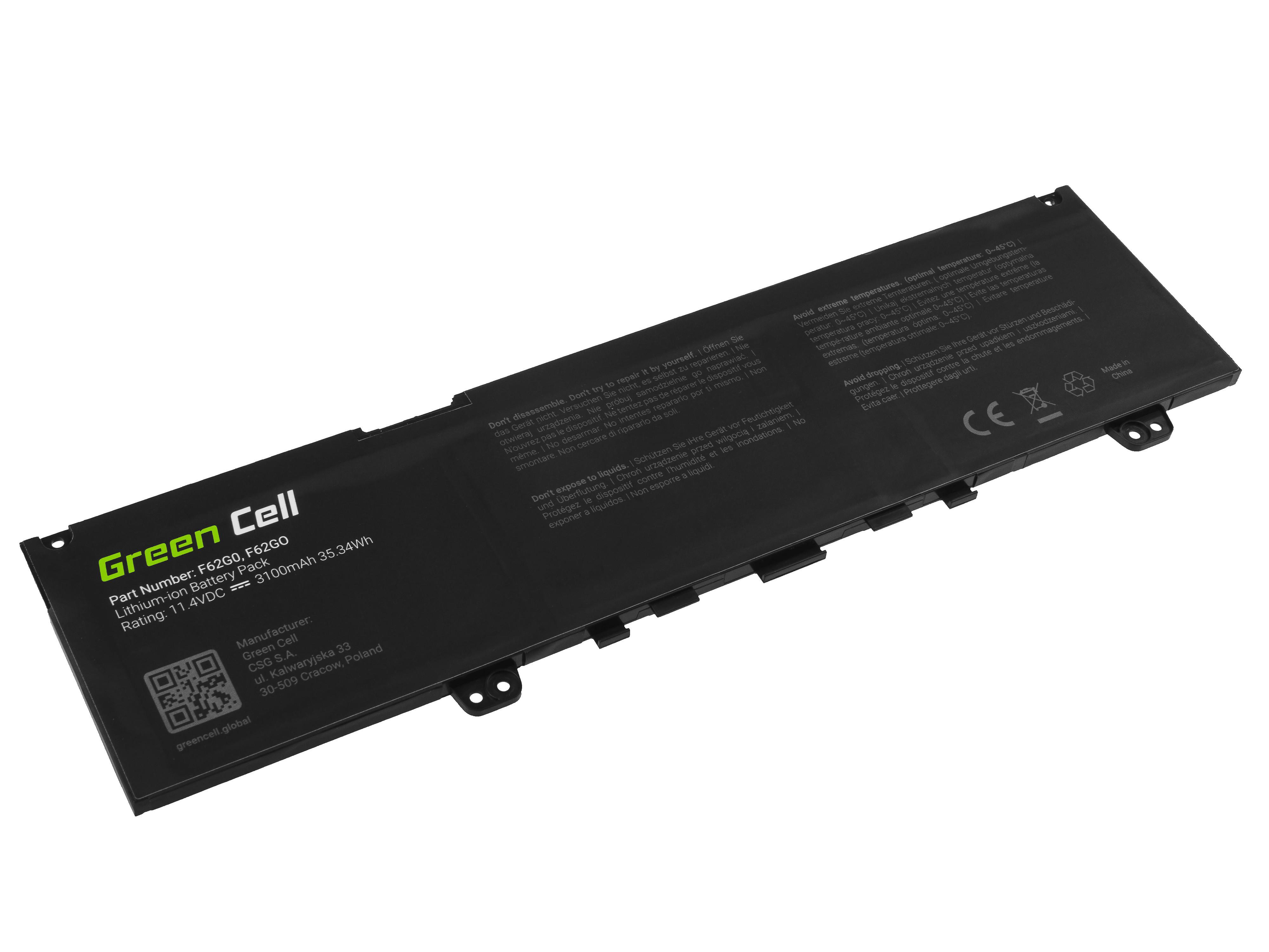 Green Cell DE144 Baterie Dell F62G0,Dell Inspiron 13 5370 7370 7373 7380 7386, Dell Vostro 5370 3100mAh Li-Pol - neoriginální