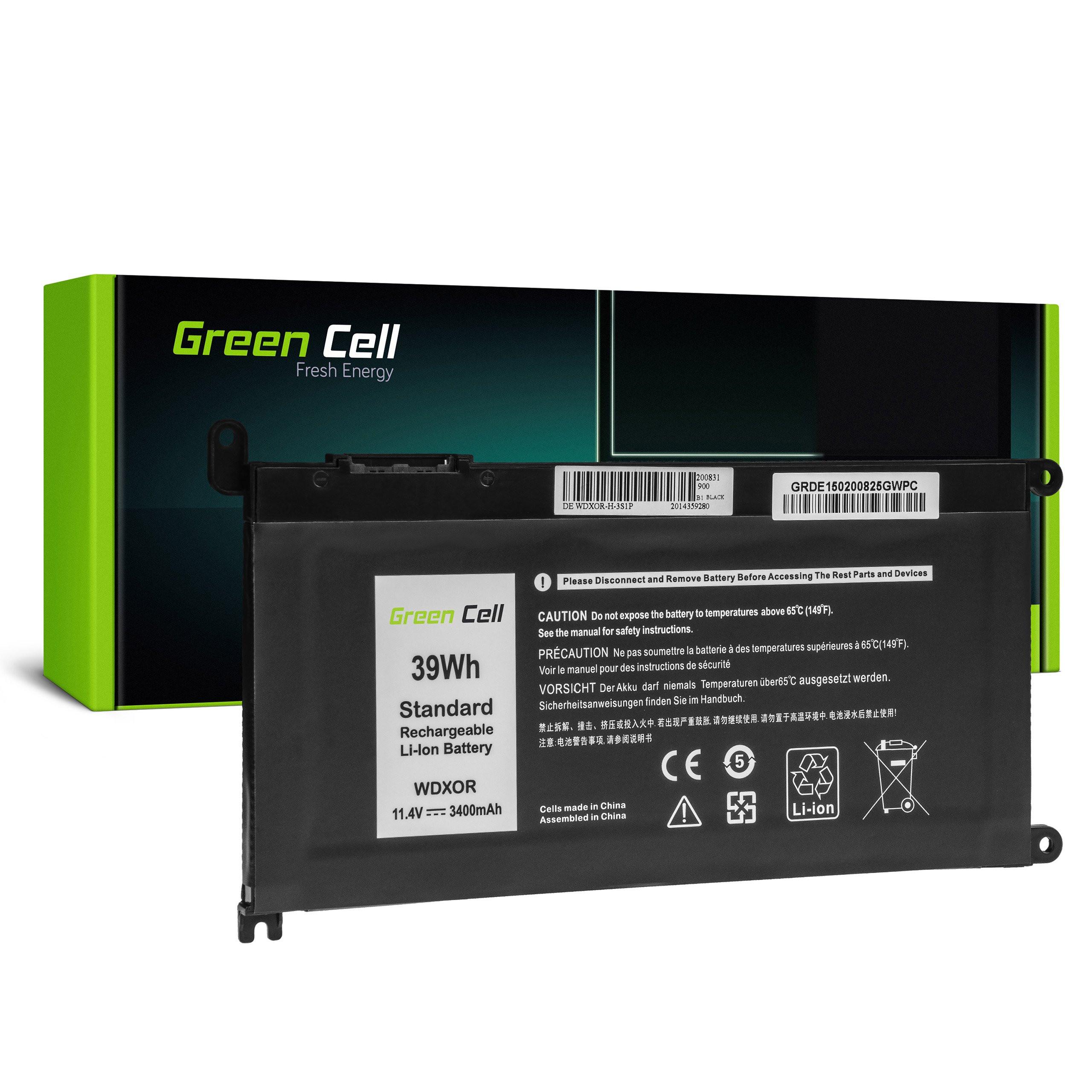 Green Cell DE150 Baterie Dell WDX0R WDXOR, Dell Inspiron 13 5368 5378 5379 14 5482 15 5565 5567 5568 5570 5578 5579 7560 7570 17 5770 3400mAh Li-Pol - neoriginální