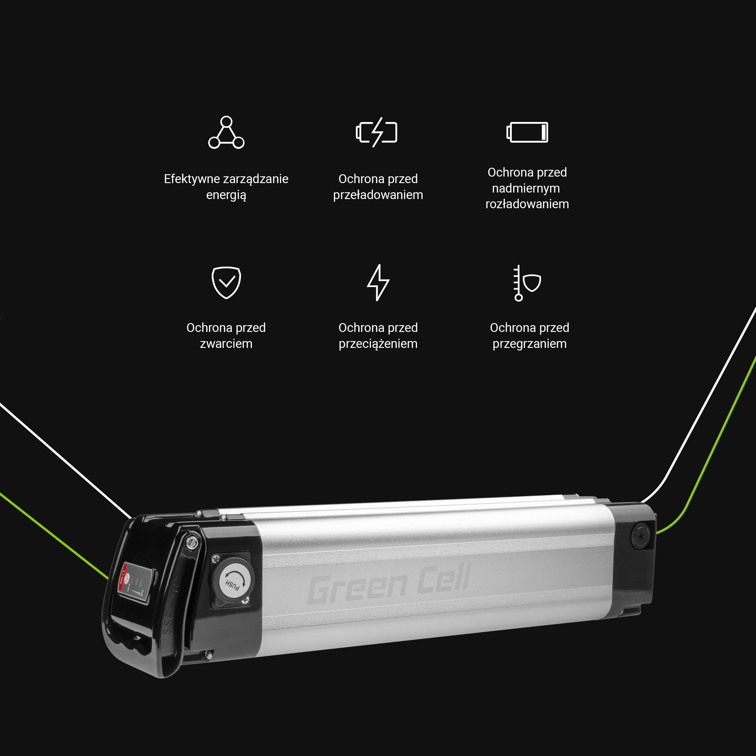 Green Cell Baterie Silverfish 36V 10.4Ah 374Wh pro E-Bike Pedelec