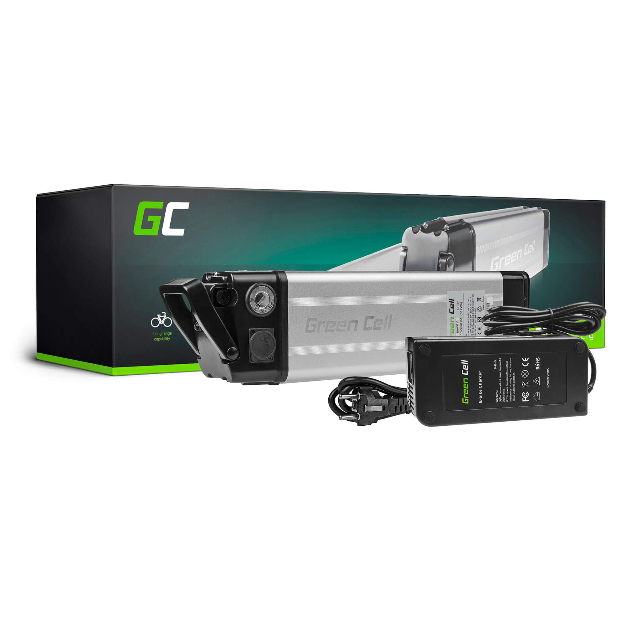 Green Cell E-BIKE Baterie 36V 8.8Ah Li-Ion Silverfish with Charger