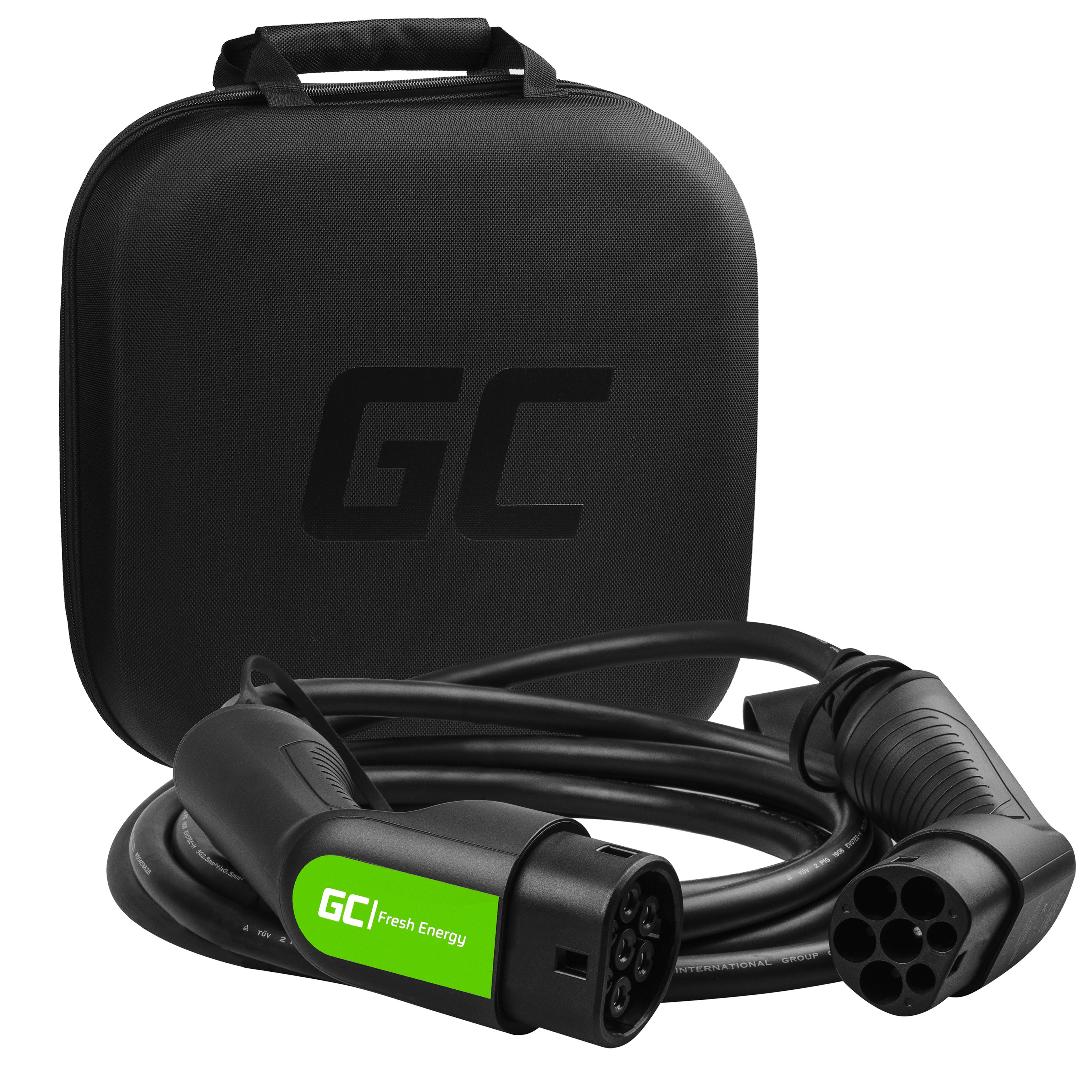 Cable Green Cell GC Type 2 22kW 16.4 ft for charging EV Tesla Leaf Ioniq Kona E-tron Zoe