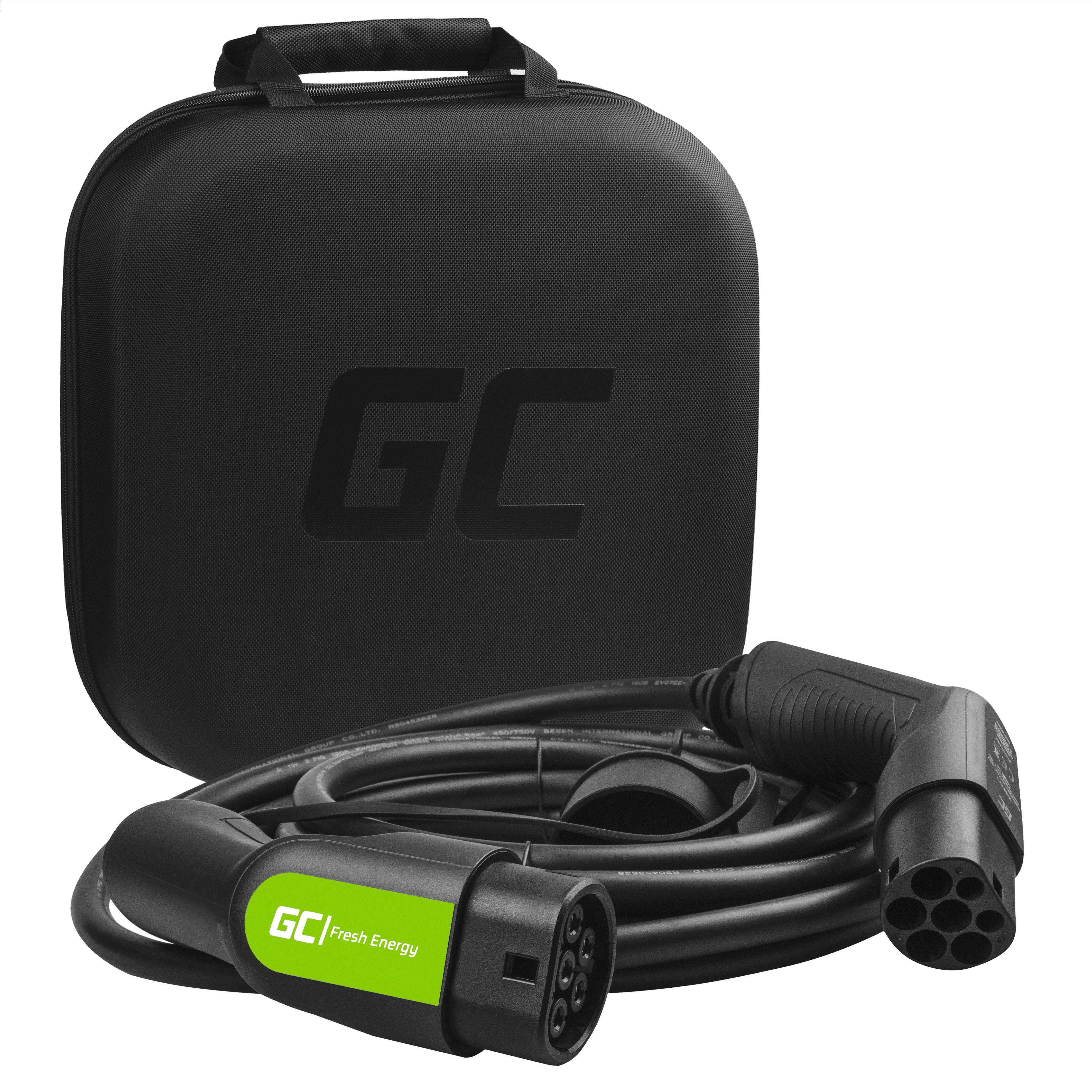 Green Cell Nabíjecí kabel Type 2 11kW 7m pro nabíjení EV Tesla Model 3 / S / X, Leaf, ZOE, i3, ID.3, I-Pace, E-Tron, Kona, Ioniq