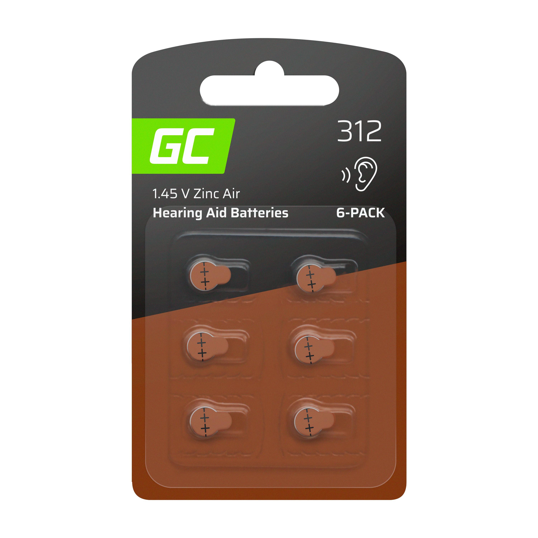 Green Cell Baterie 6ks pro naslouchátko Typ 312 P312 PR41 ZL3 ZincAir