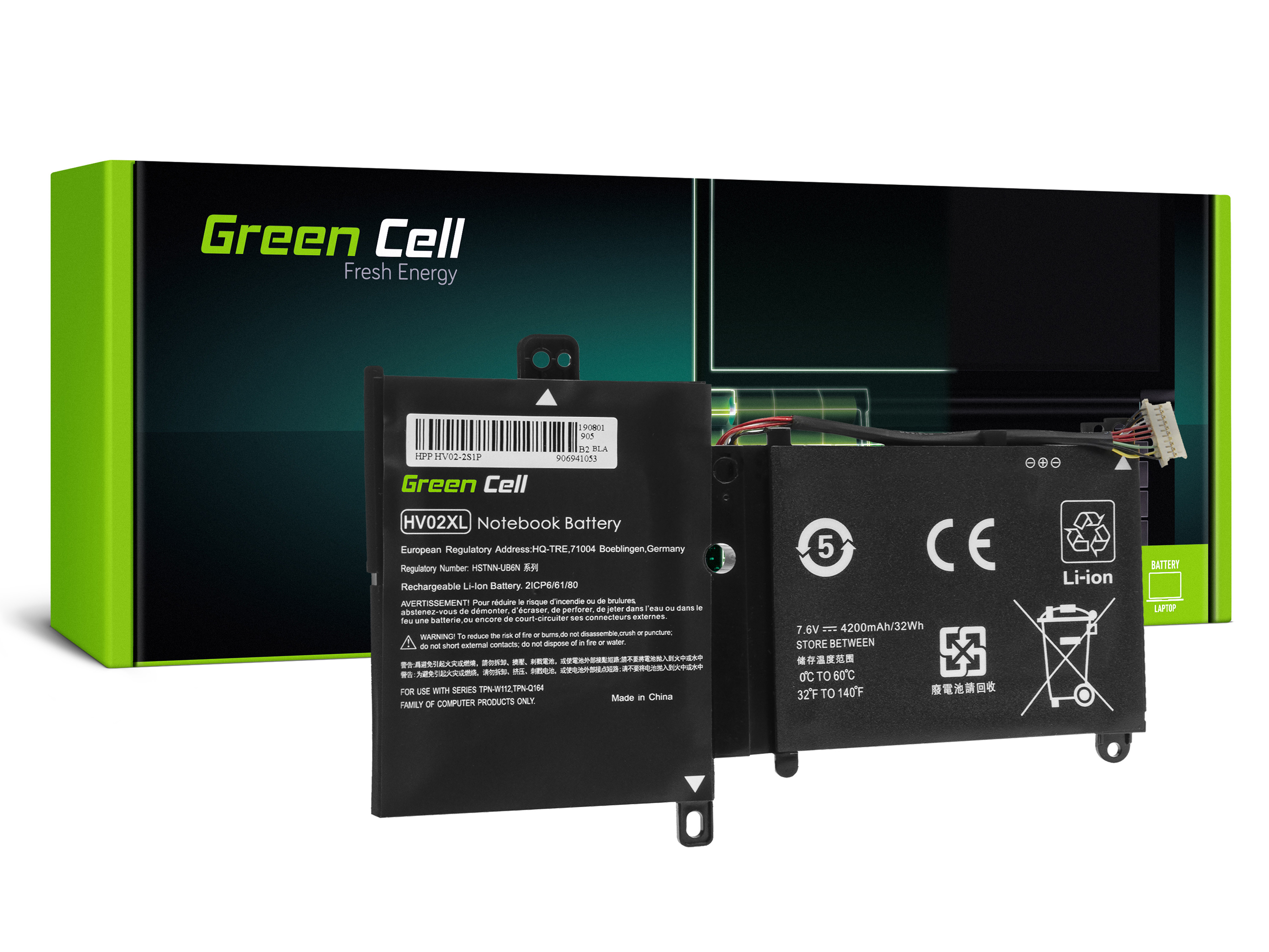 Green Cell Laptop Baterie Baterie HV02XL pro HP Pavilion x360 11-K 11-K002NW 11-K102NW, HP Spectre 13-4000 13-4000NW 13-4100NW