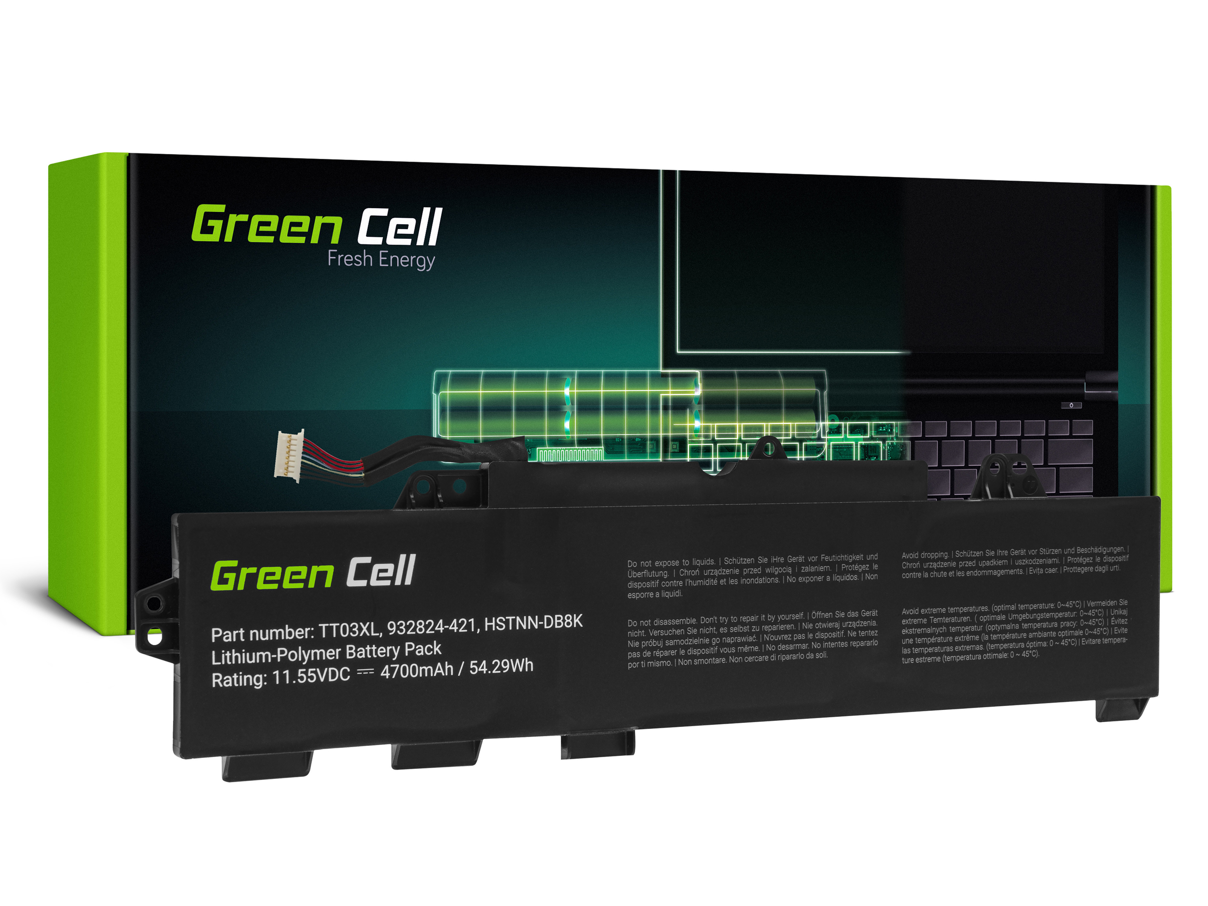 Green Cell HP166 Baterie HP TT03XL, HP EliteBook 755 G5 850 G5, HP ZBook 15u G5 4700mAh Li-Pol - neoriginální