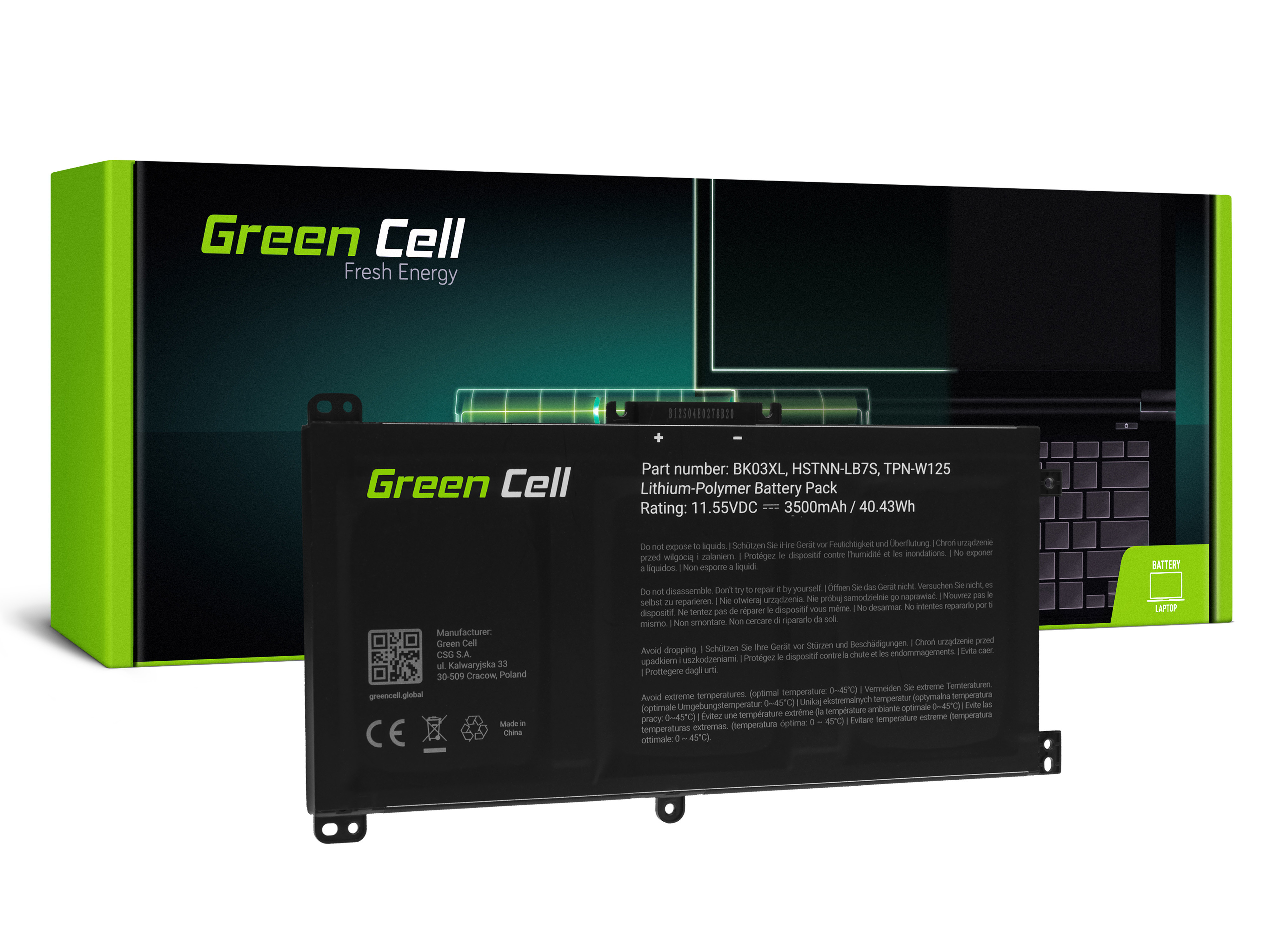 Green Cell HP167 Baterie HP BK03XL HP Pavilion x360 14-BA 14-BA015NW 14-BA022NW 14-BA024NW 14-BA102NW 14-BA104NW 3500mAh Li-Pol – neoriginální
