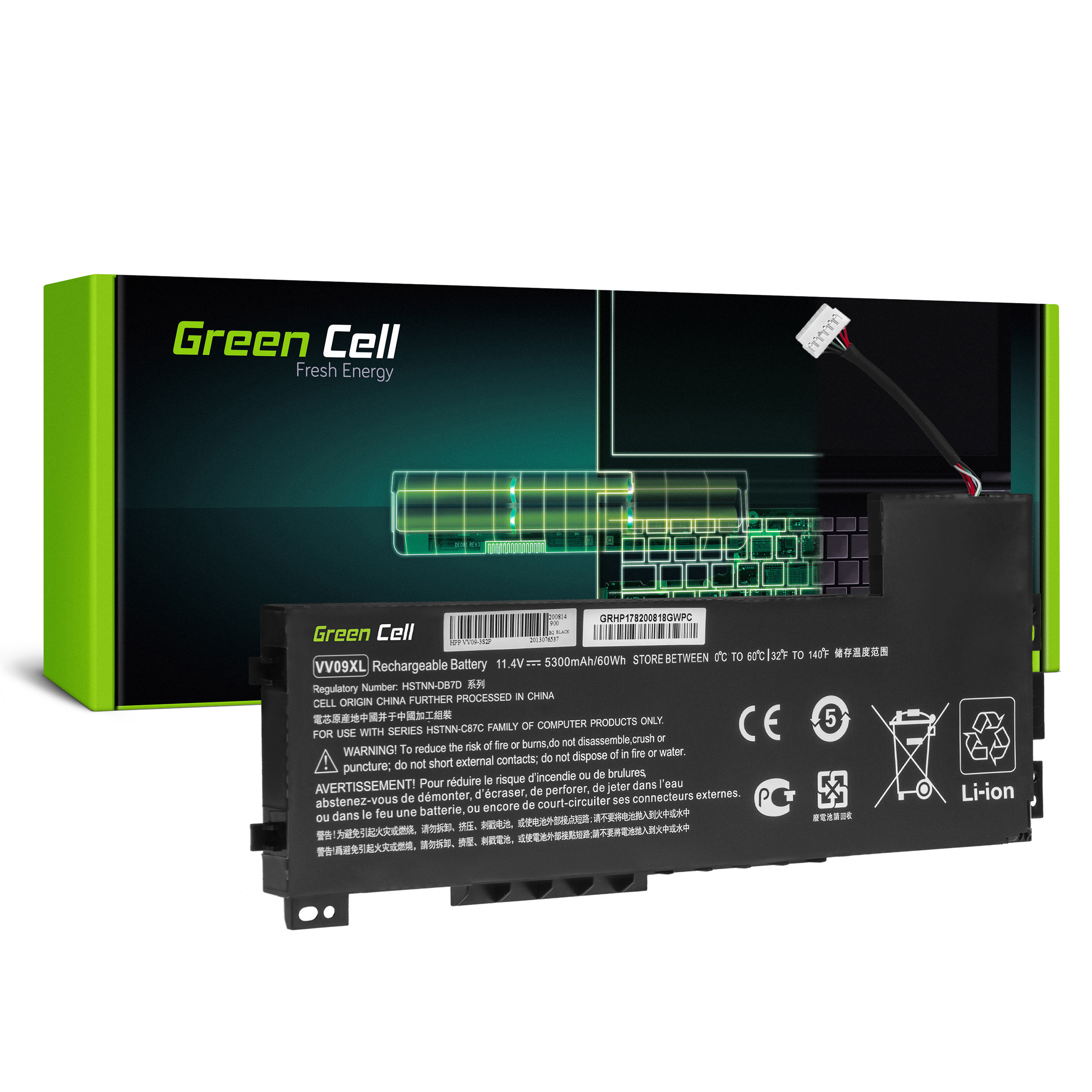 Green Cell HP178 Baterie HP VV09XL, HP ZBook 15 G3 G4 5300mAh Li-Pol - neoriginální