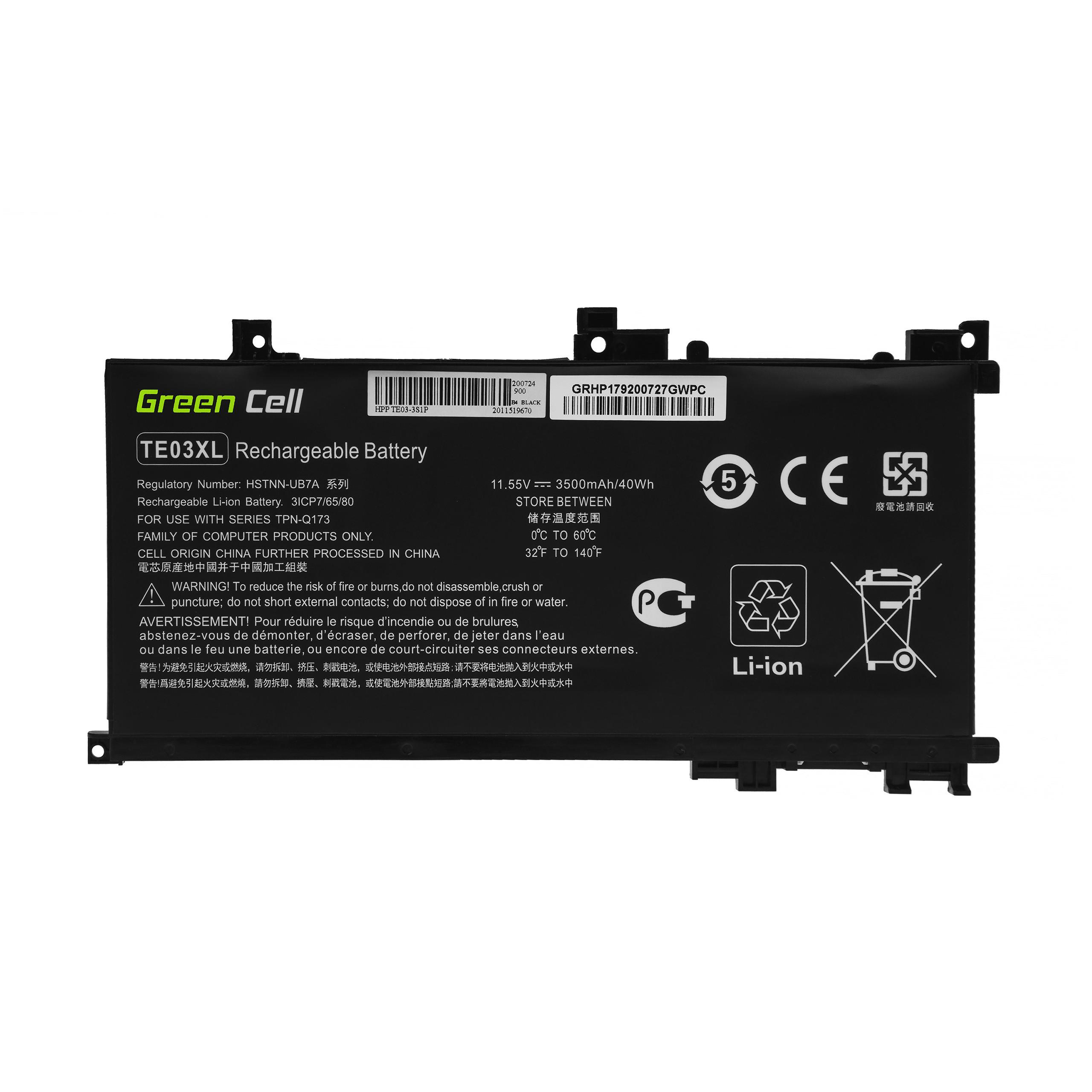 Green Cell Baterie TE03XL pro HP Omen 15-AX052NW 15-AX055NW 15-AX075NW 15-AX099NW, HP Pavilion 15-BC402NW 15-BC408NW 15-BC411NW