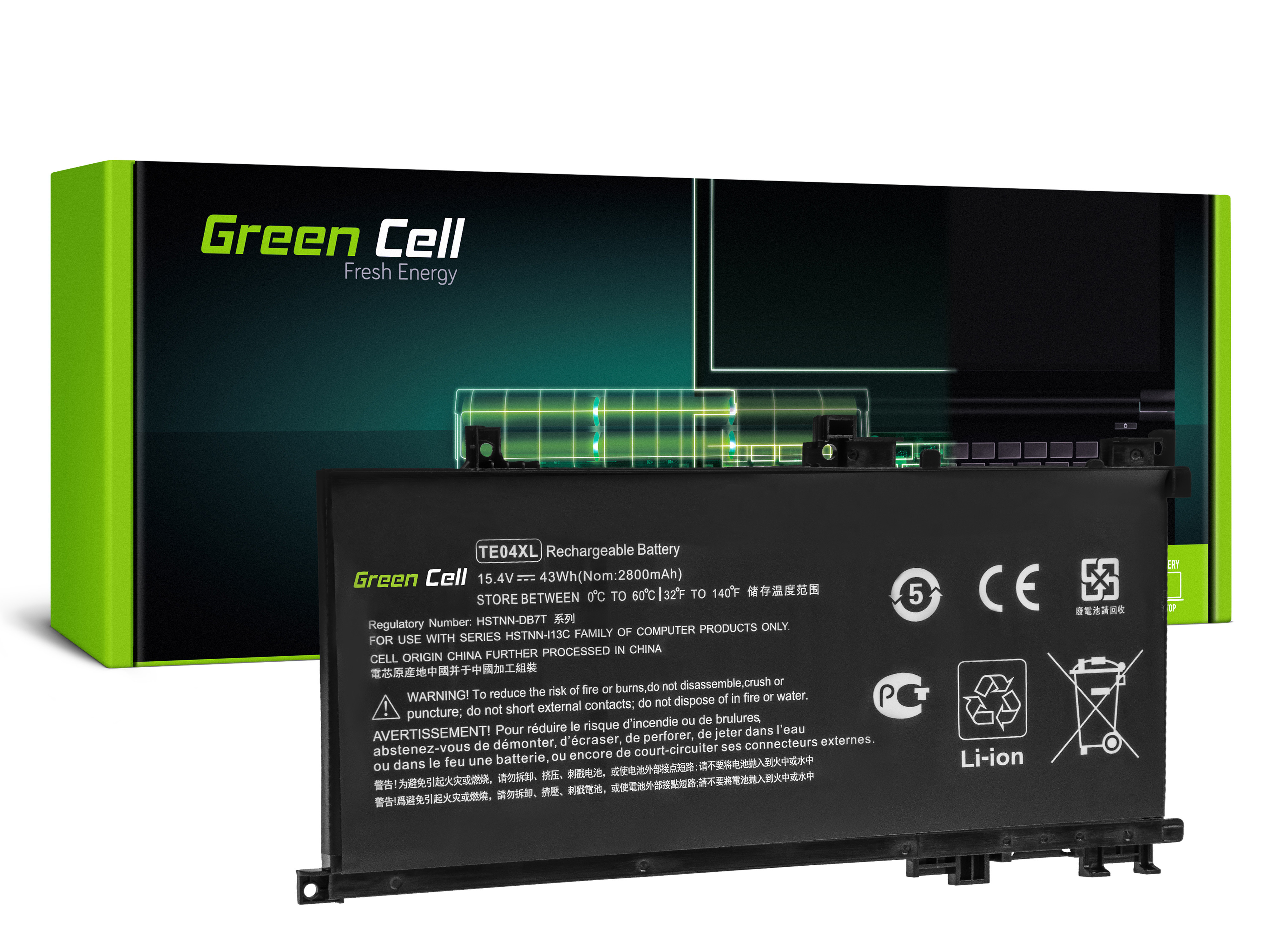 Green Cell HP180 Baterie HP TE04XL, HP Omen 15-AX202NW 15-AX205NW 15-AX212NW 15-AX213NW, HP Pavilion 15-BC501NW 15-BC505NW 15-BC507NW 2800mAh Li-Pol - neoriginální