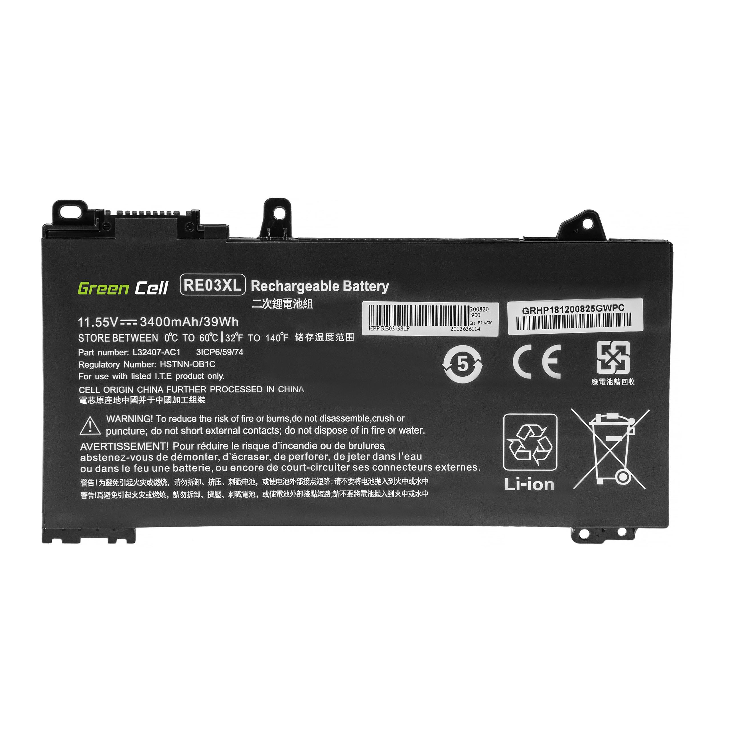 Green Cell HP181 Baterie HP RE03XL, HP ProBook 430 G6 G7 440 G6 G7 445 G6 G7 450 G6 G7 455 G6 G7 445R G6 455R G6 3400mAh Li-Pol - neoriginální