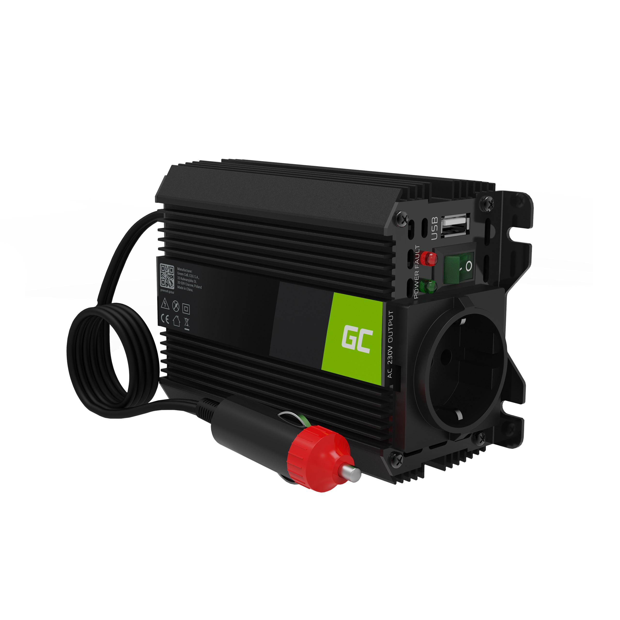 Green Cell Auto měnič napětí z 12V na 230V, 150W/300W - modifikovaný sinus