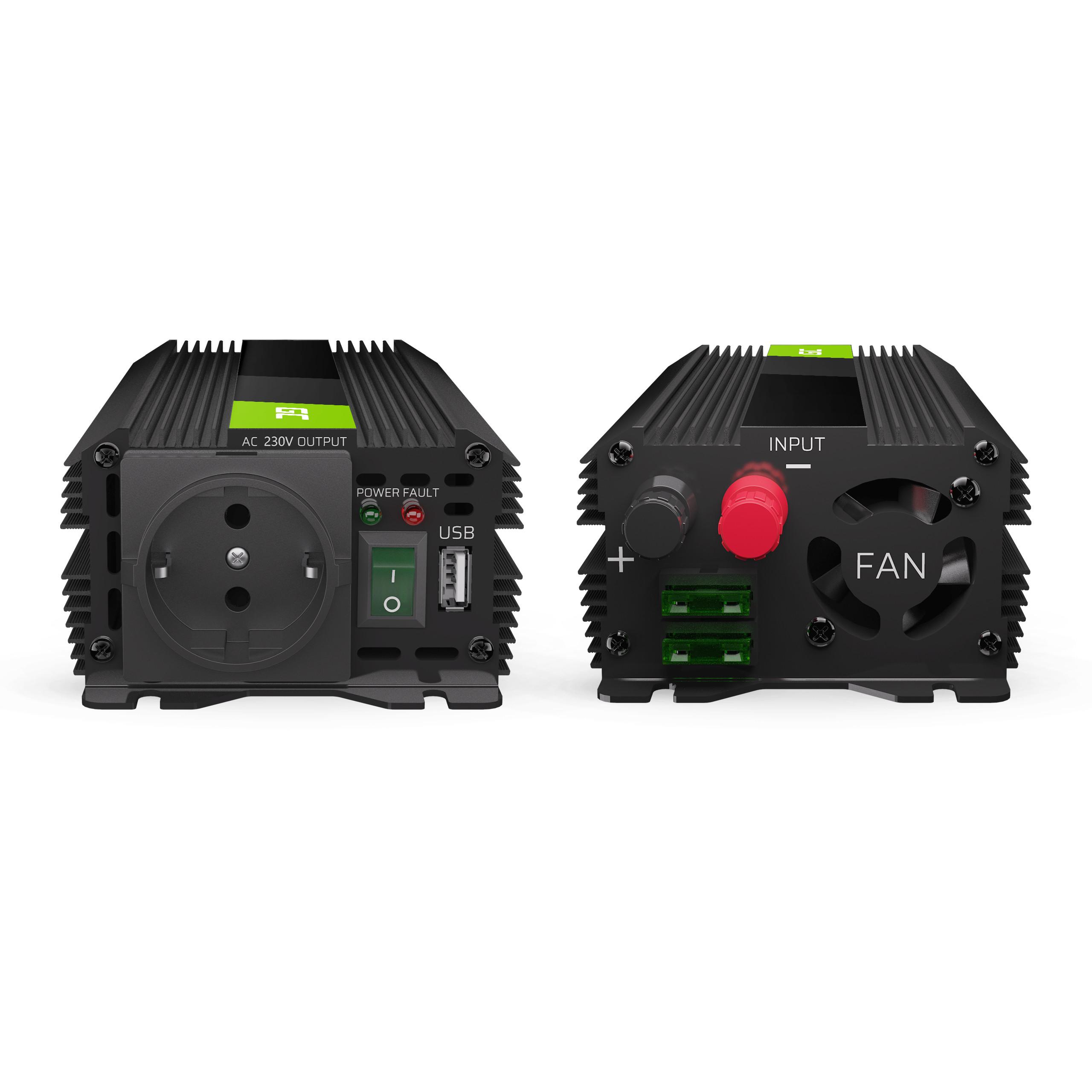 Auto měnič napětí z 24V na 230V, 500W/1000W - modifikovaný sinus