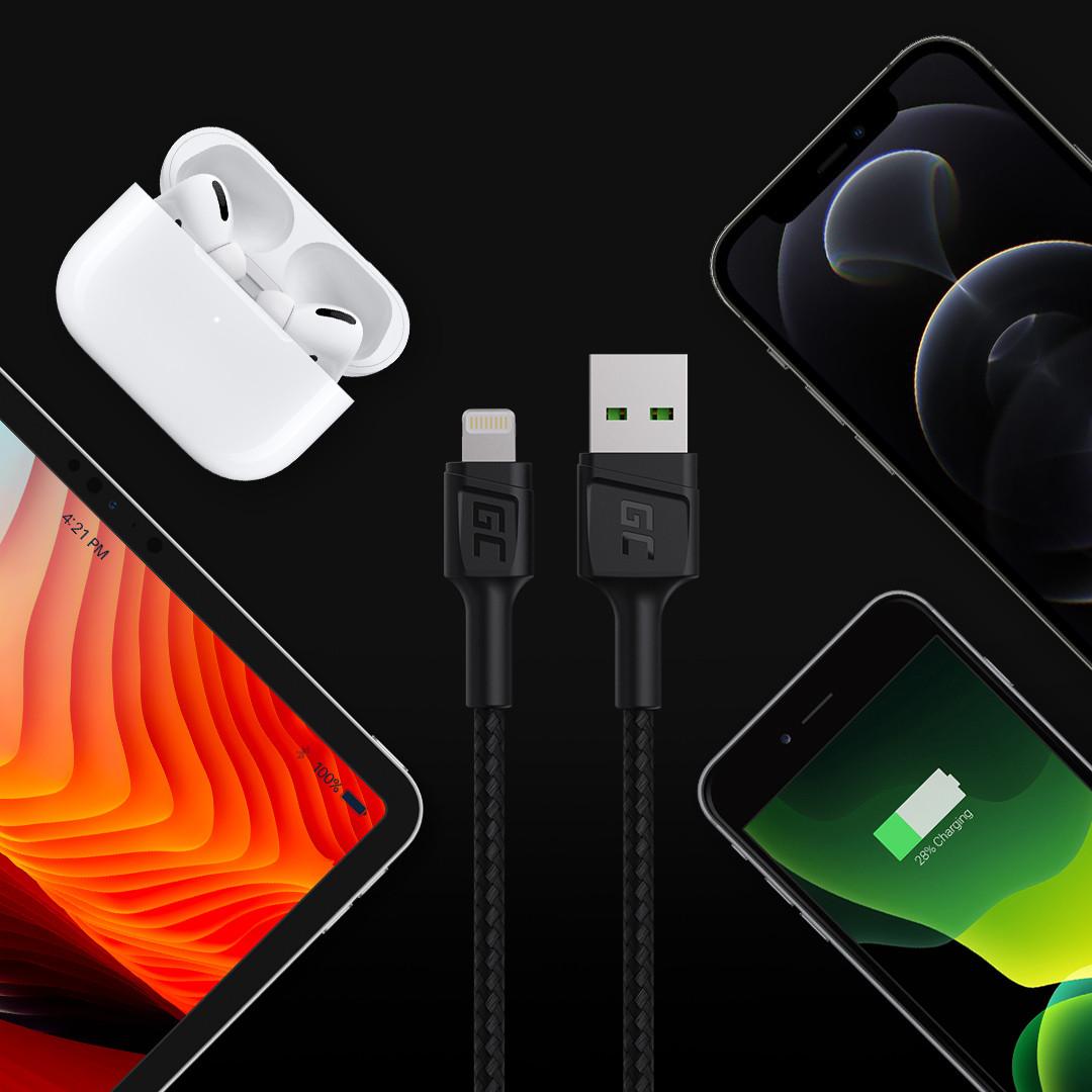 Green Cell kabel GC PowerStream USB-A - Lightning 120cm dla iPhone, iPad, iPod, rychlé nabíjení Apple 2.4A