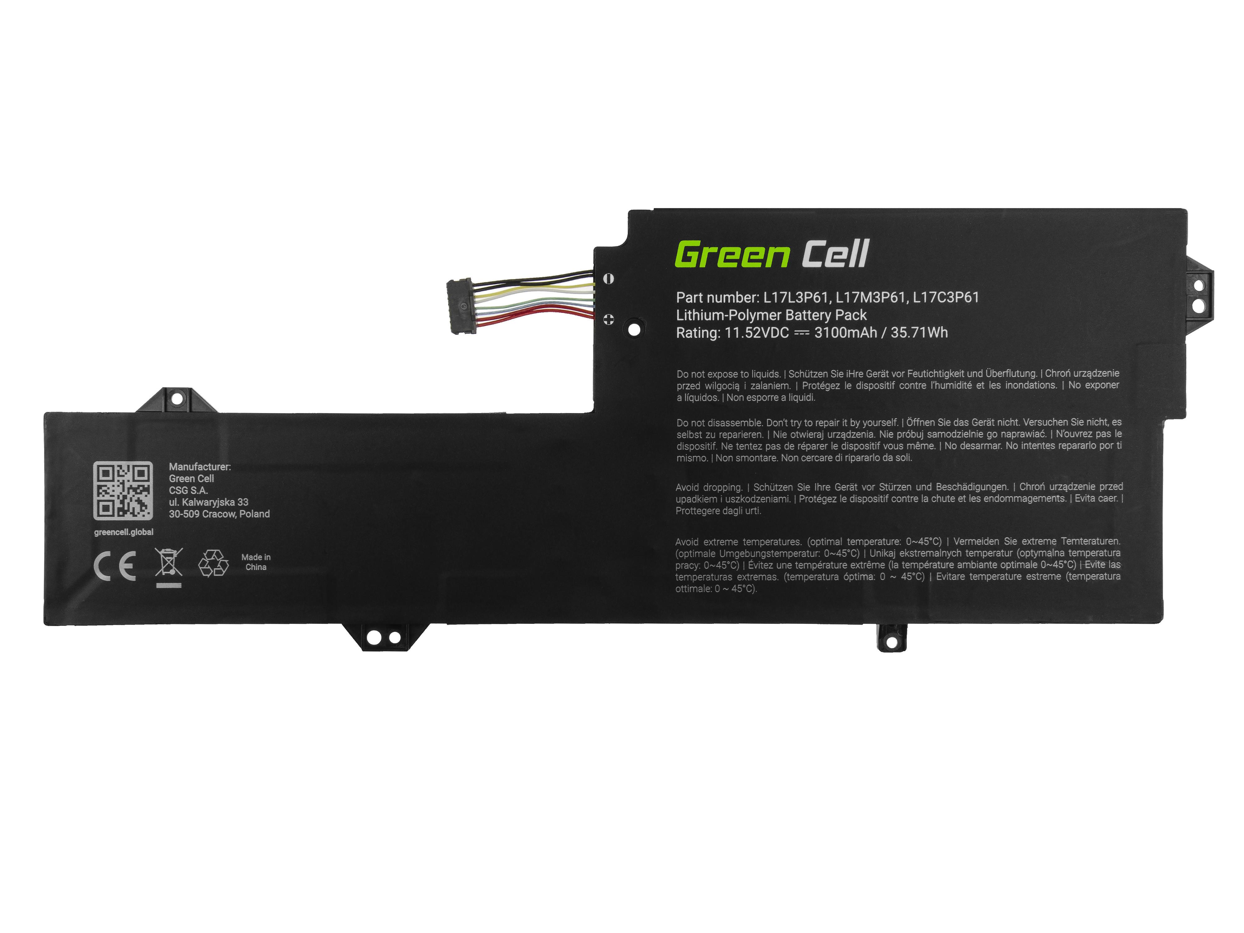 Green Cell LE154 Baterie Lenovo L17C3P61 L17L3P61 L17M3P61, Lenovo Flex 6 11 6-11IGM, IdeaPad 320s-13IKB, Yoga 330-11IGM 720-12IKB 3100mAh Li-Pol – neoriginální