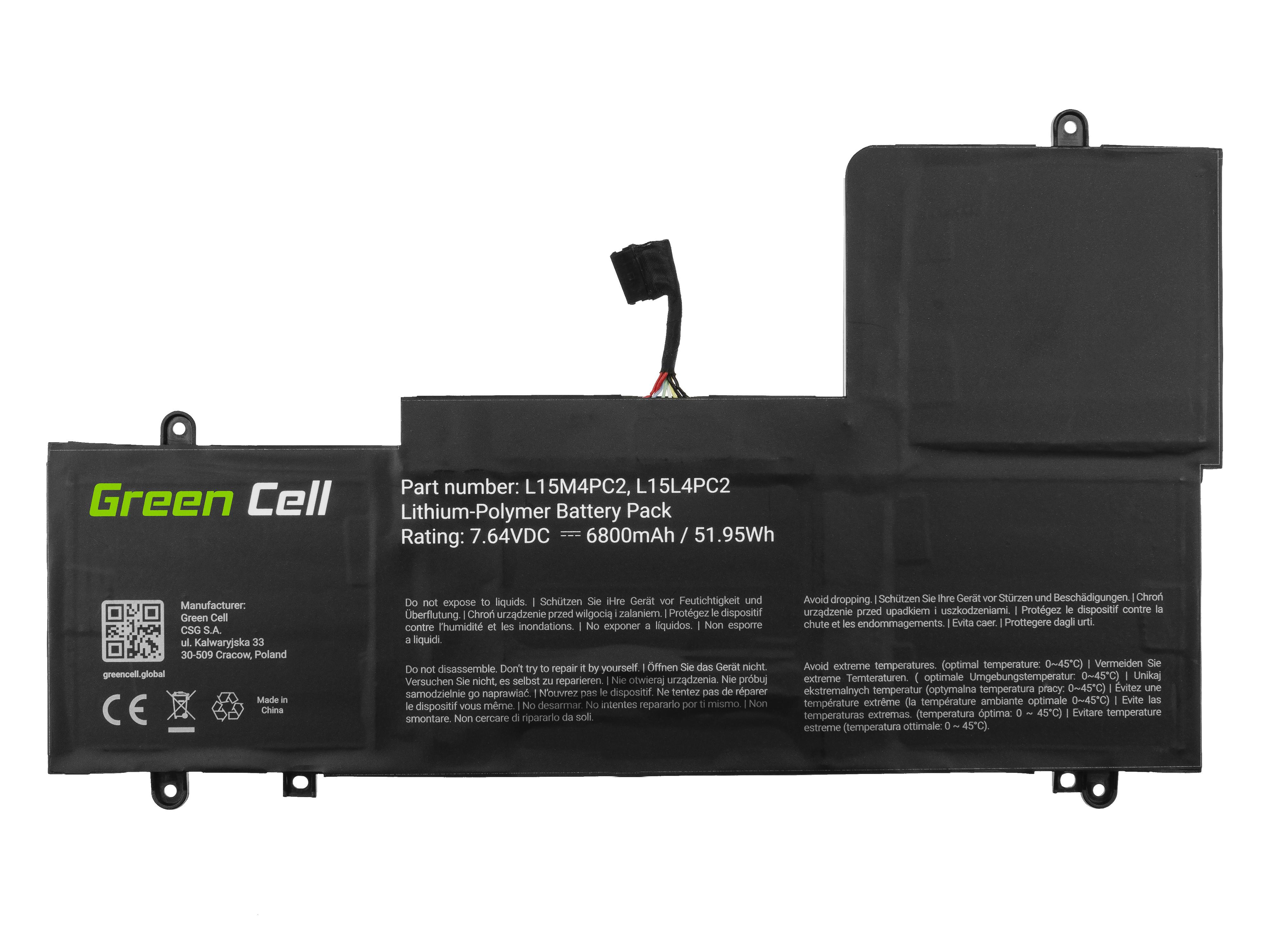 Green Cell LE155 Baterie Lenovo L15L4PC2 L15M4PC2, Lenovo Yoga 710-14 710-14IKB 710-14ISK 710-15 710-15IKB 710-15ISK 6800mAh Li-Pol – neoriginální