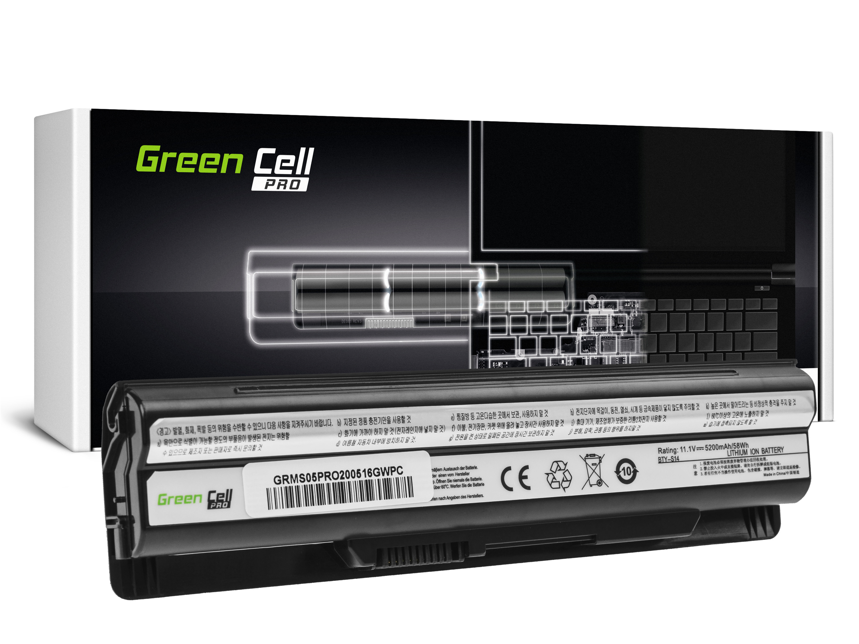 Green Cell MS05PRO Baterie MSI BTY-S14 BTY-S15, MSI CR650 CX650 FX400 FX600 FX700 GE60 GE70 GP60 GP70 GE620 5200mAh Li-ion - neoriginální