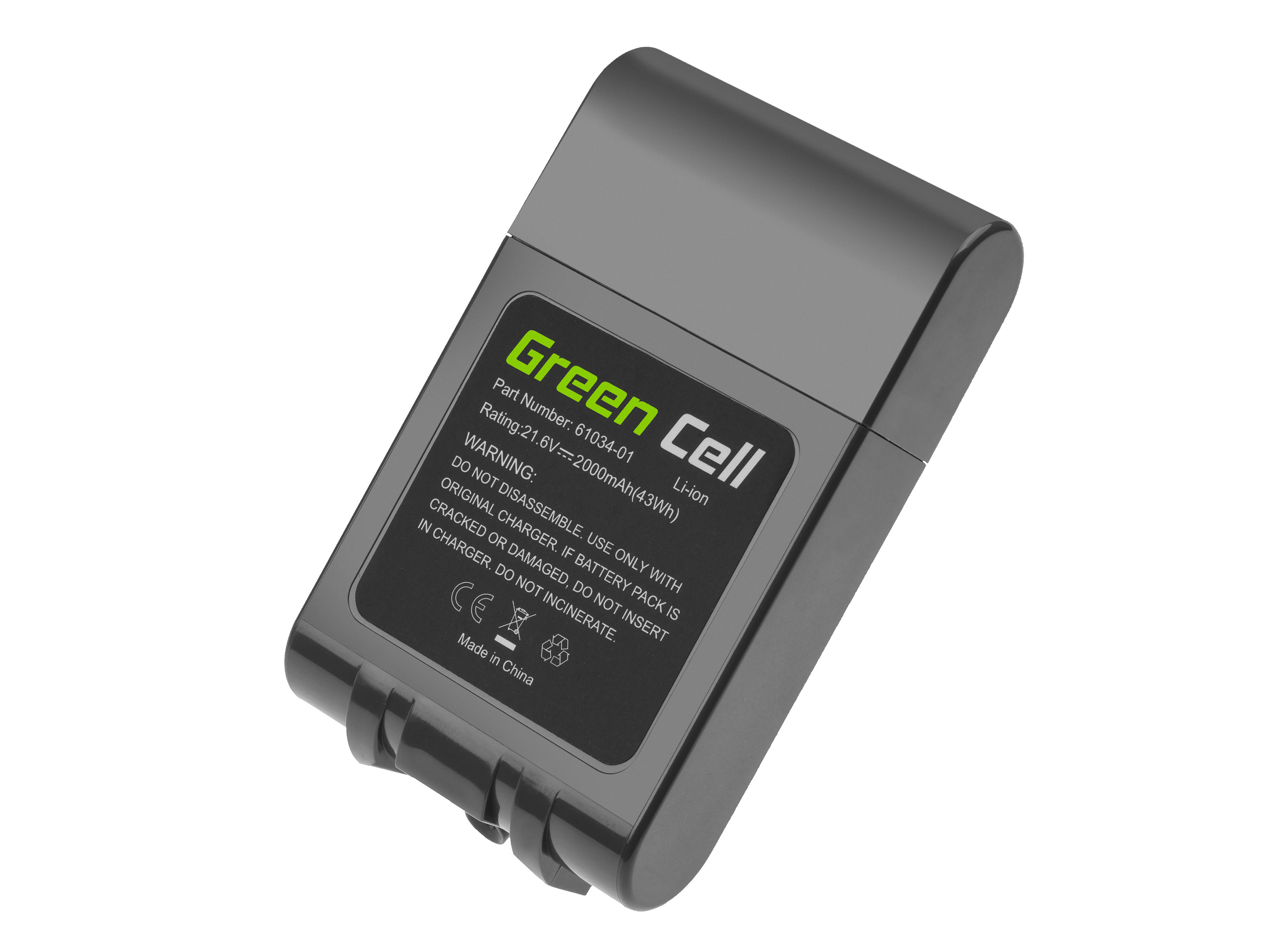Green Cell® Battery (2Ah 21.6V) 967810-02 209432-01 209472-01 for Dyson V6 DC58 DC59 DC61 DC62 DC72 DC74