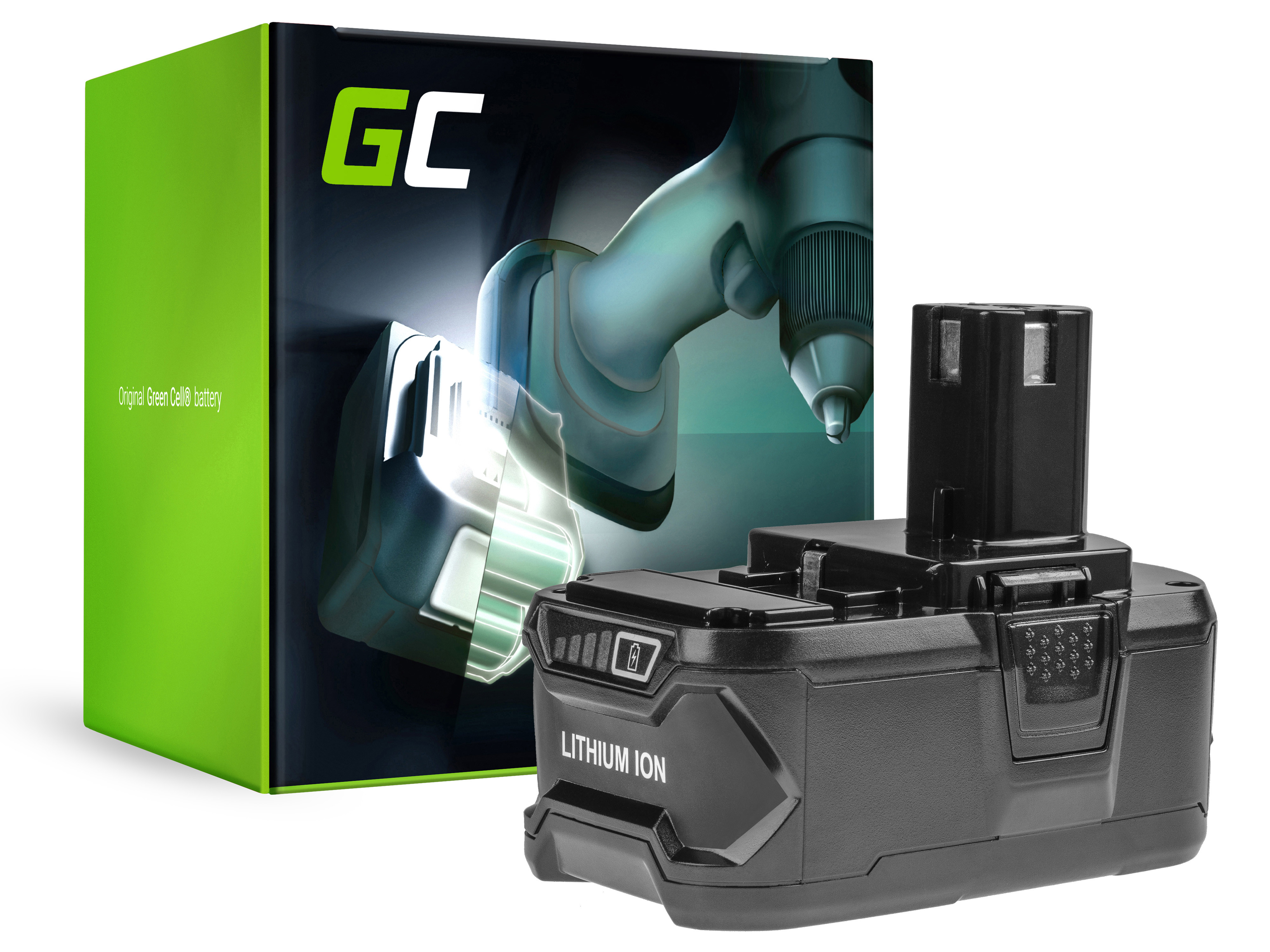 Green Cell PT233 Baterie Ryobi RB18L50 RB18L25 RYOBI R18AG0 R18JS0 R18PDBL RCD18022L RID1801M RMT1801M 6000mAh Li-ion - neoriginální
