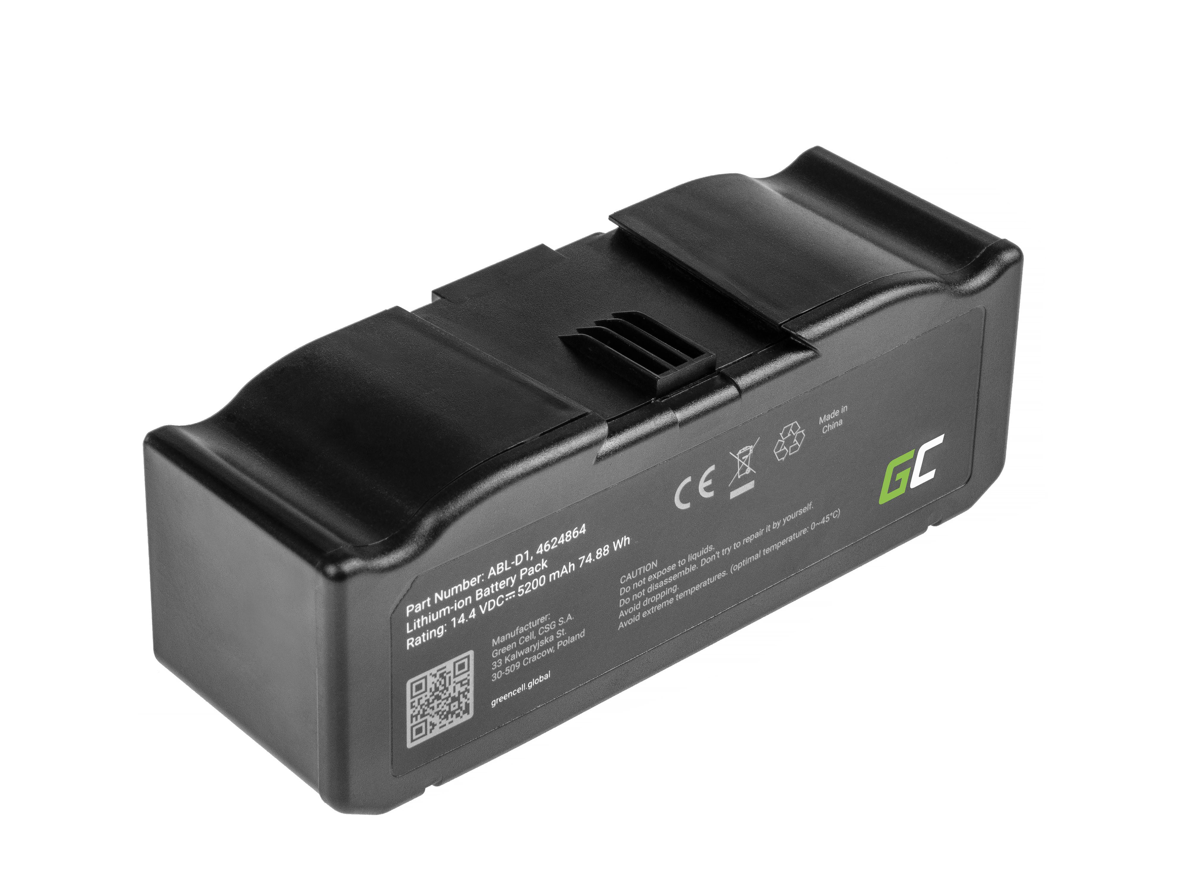 Green Cell Baterie (5.2Ah 14.4V) ABL-D1, 4624864 pro  iRobot Roomba e5, e6, i3, i3+, i7, i7+, i8, i8+
