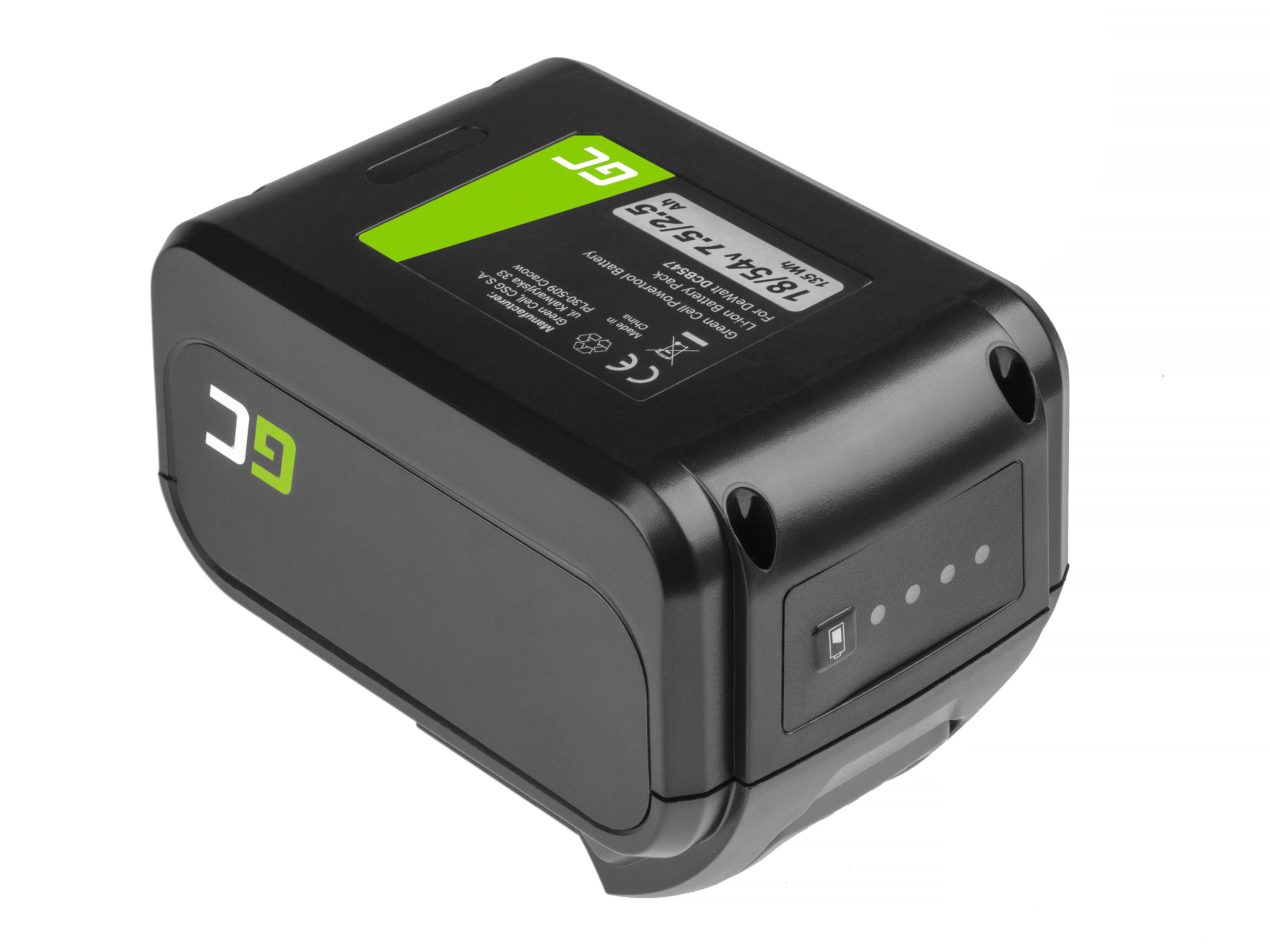 Green Cell (7.5/2.5Ah 18/54V) Baterie DCB546 DCB546XJ DCB547 DCB548 DCB184 pro DeWalt XR Flexvolt DCD776 DCF899P2 DCD796P2 DCF88