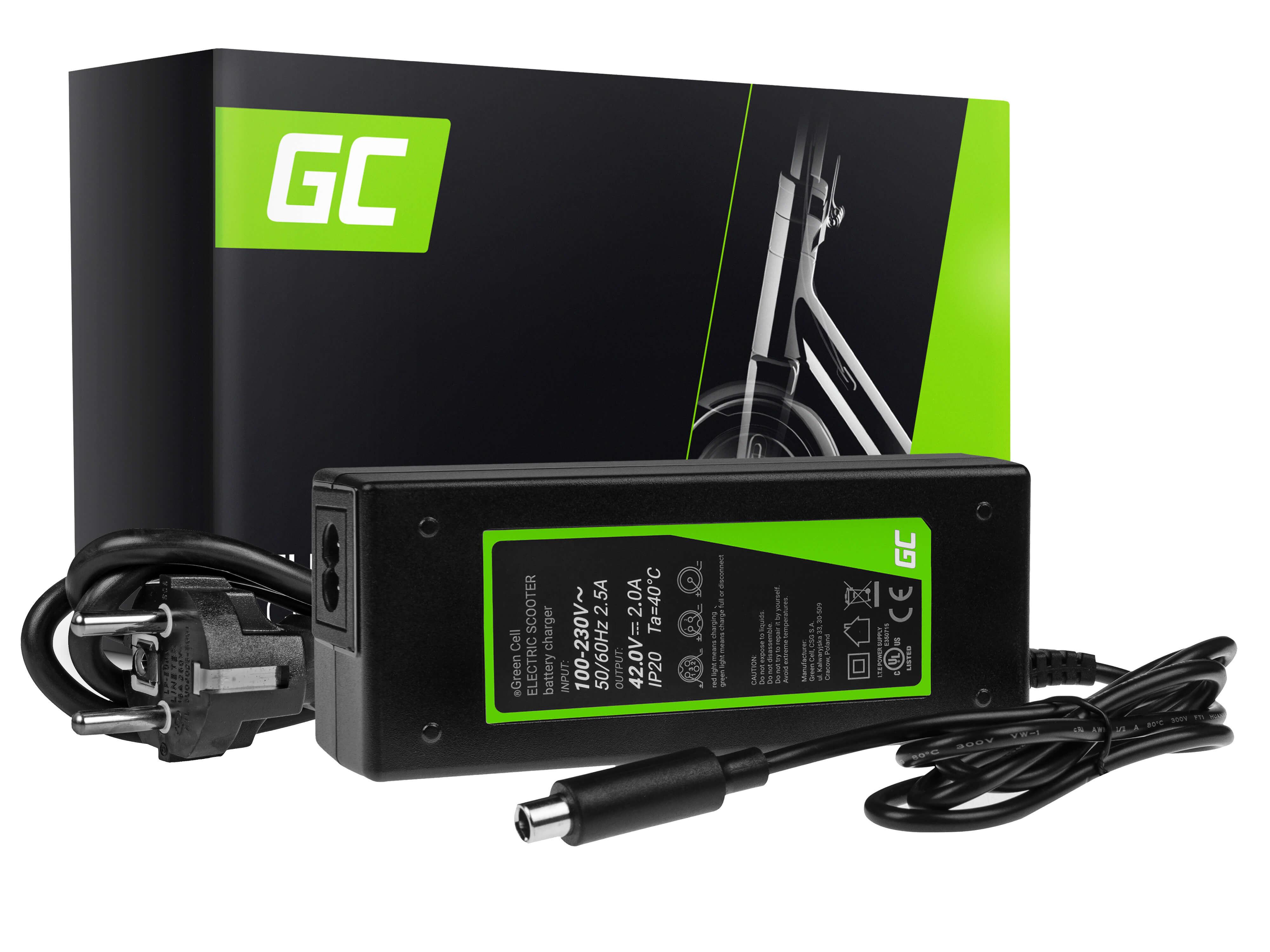 Charger Green Cell 42V do hulajnogi Xiaomi Mijia M365, M365 Pro / Segway Ninebot ES1, ES2, ES3, ES4 / Lime / Hive / Bird