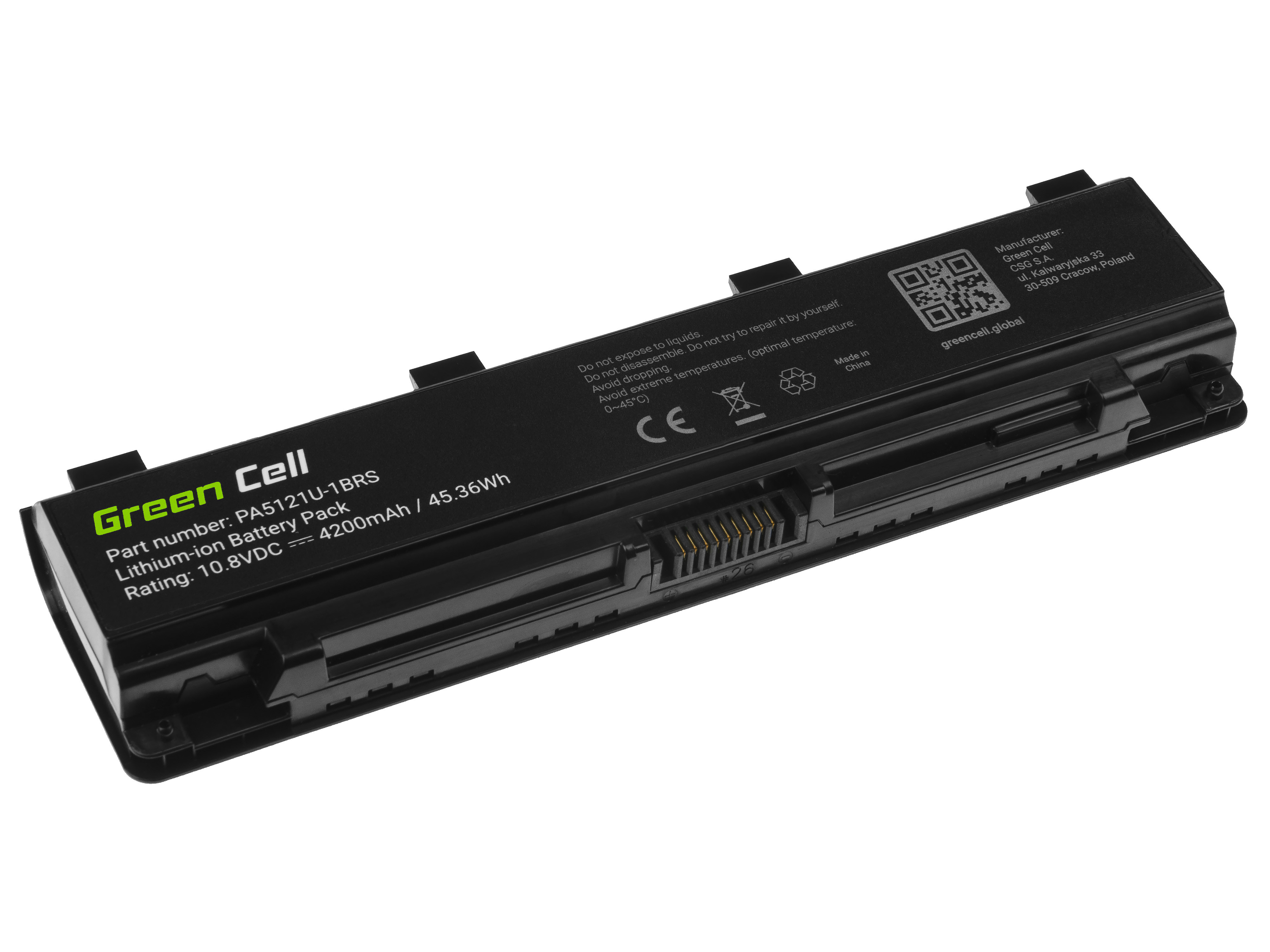 Green Cell TS65 Baterie Toshiba PA5121U-1BRS PABAS274, Toshiba Satellite P70-A P70-A-10L P70-A-10W P75-A P75-A7100 P75-A7200 4200mAh Li-Ion – neoriginální