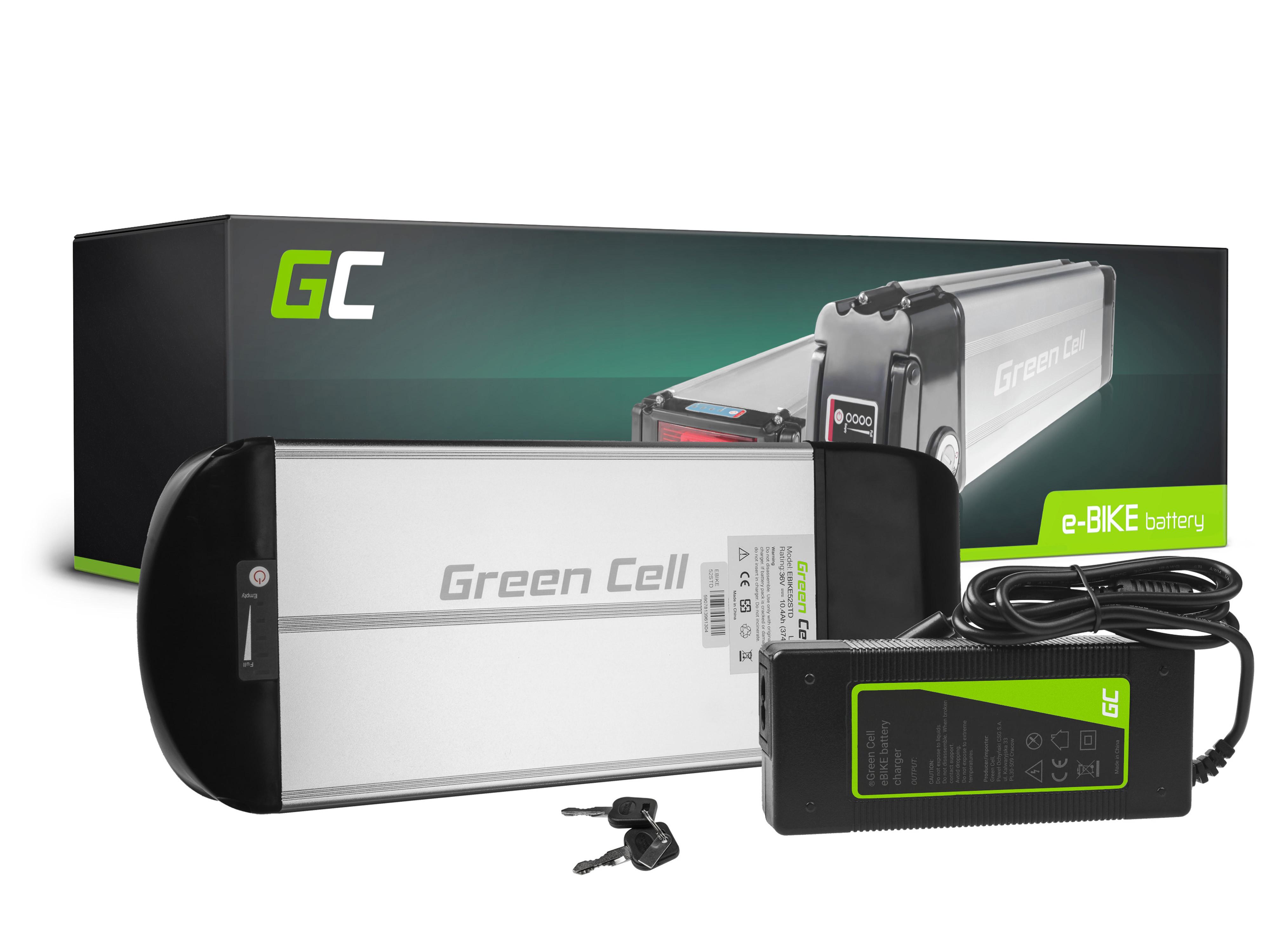 Green Cell® Battery for E-bike 36V 10Ah E-Bike Li-Ion Rear Rack with charger