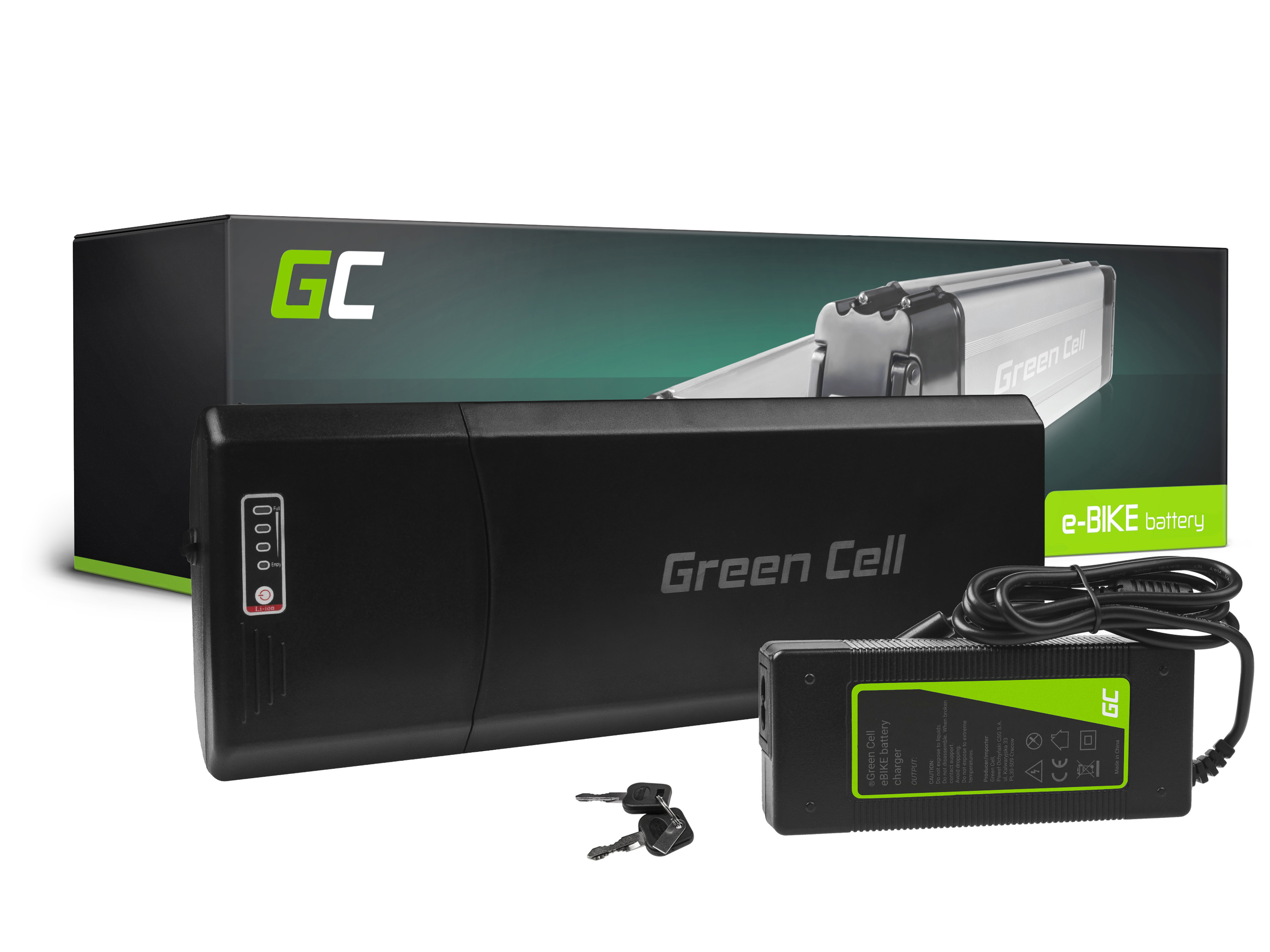 Green Cell E-Bike Baterie 36V 10.4Ah Li-Ion Rear Rack with Charger