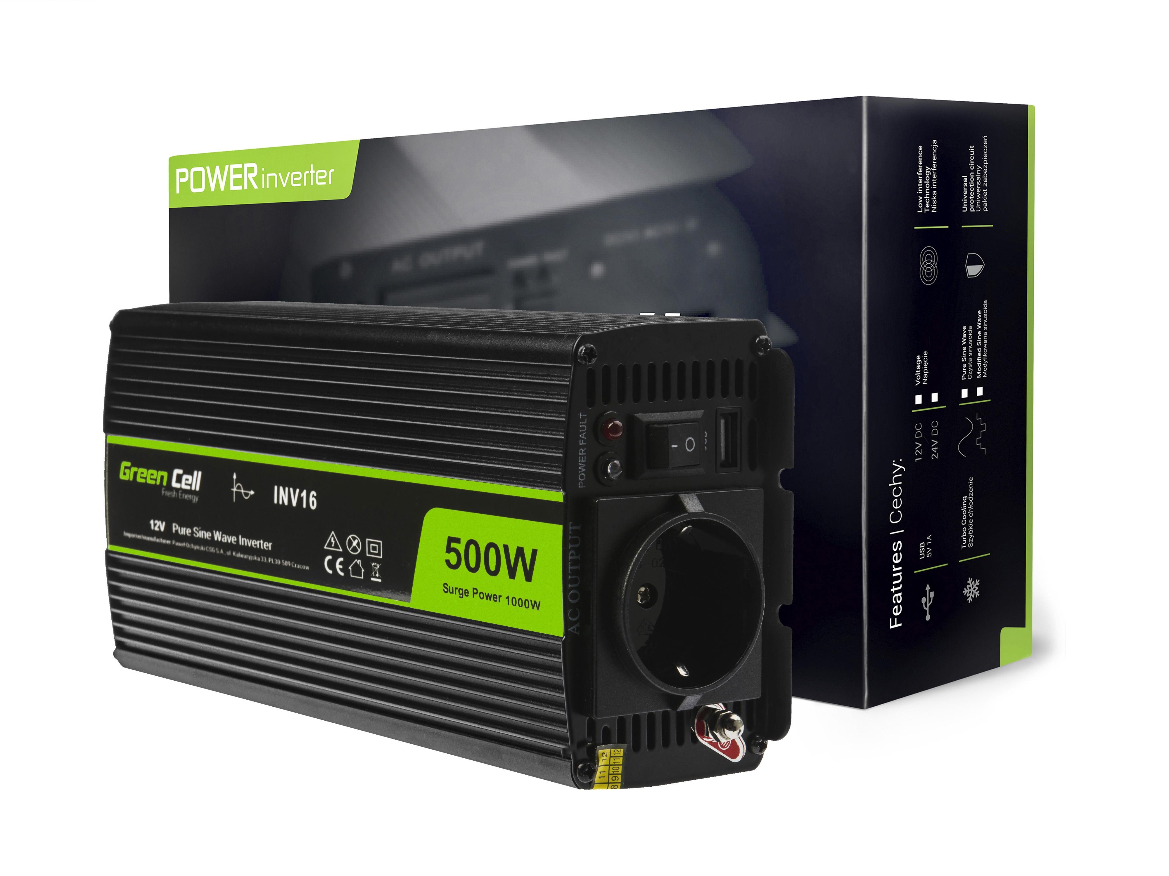 Měnič napětí do auta z 12V na 230V, 500W/1000W - čistá sinusovka