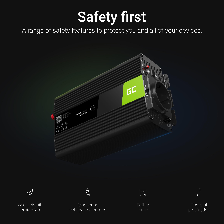 Green Cell Auto měnič napětí z 12V na 230V, 500W/1000W - modifikovaná sínusovka