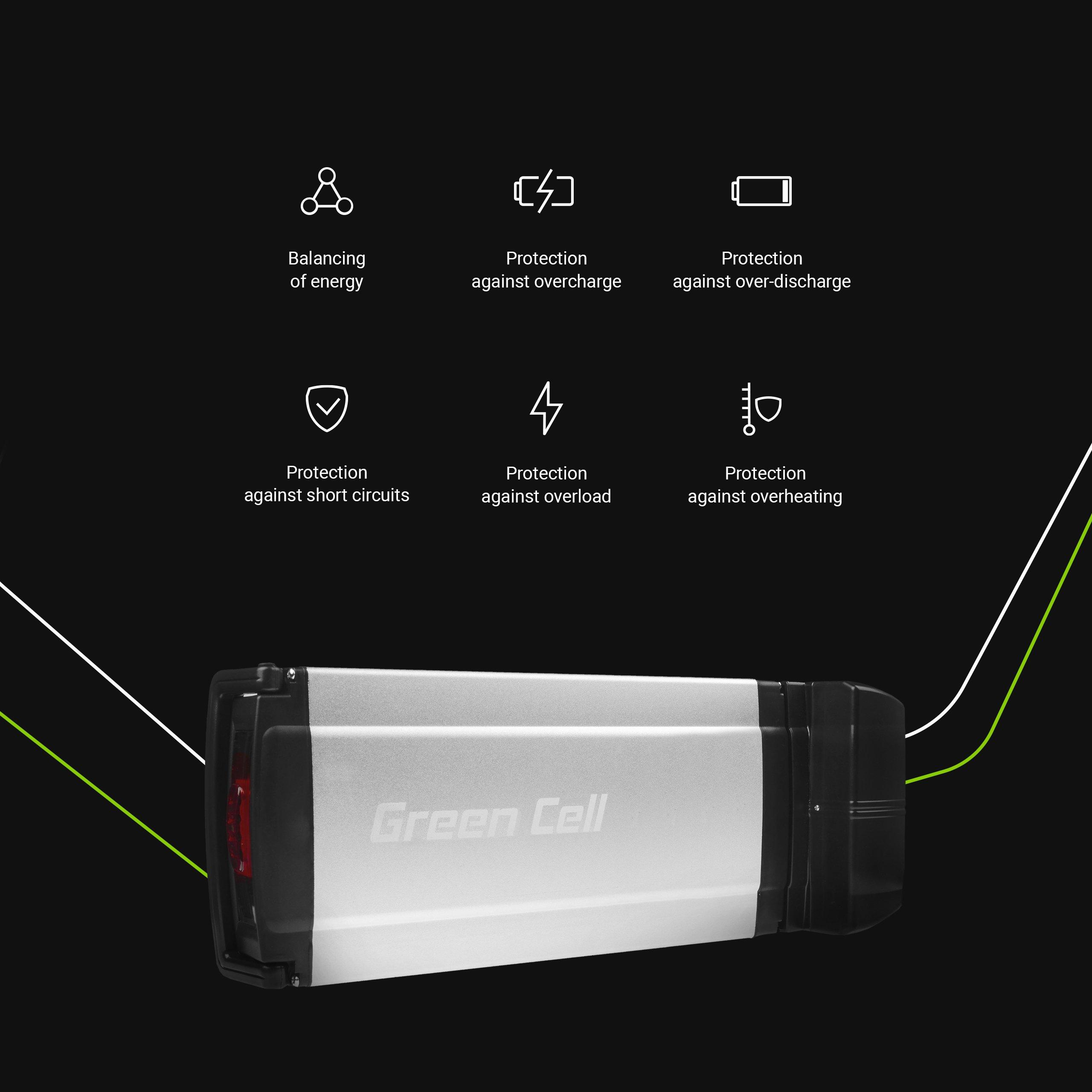 Green Cell Baterie Rear Rack 36V 8.8Ah 317Wh pro E-Bike Pedelec