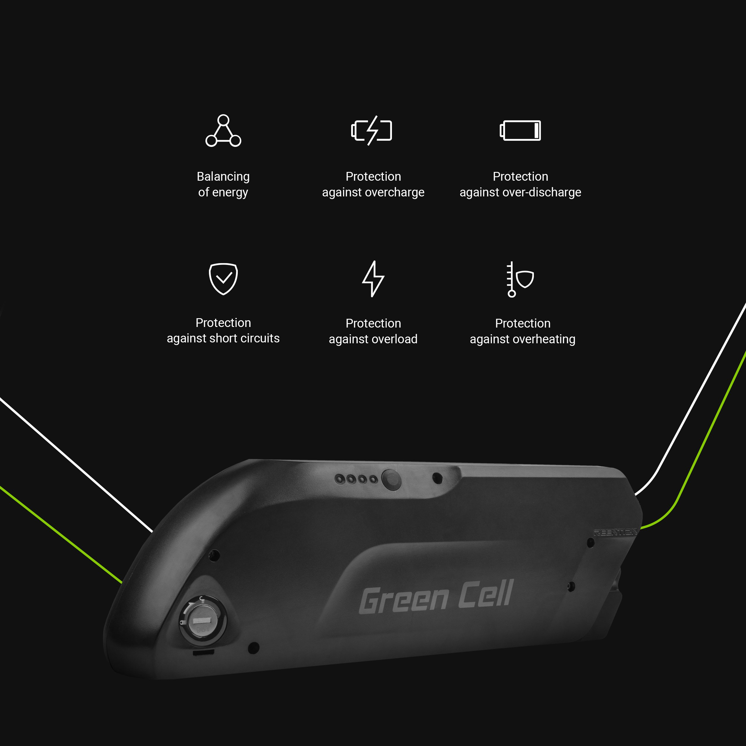 Green Cell Baterie Down Tube 36V 15,6Ah 562Wh pro E-Bike Pedelec