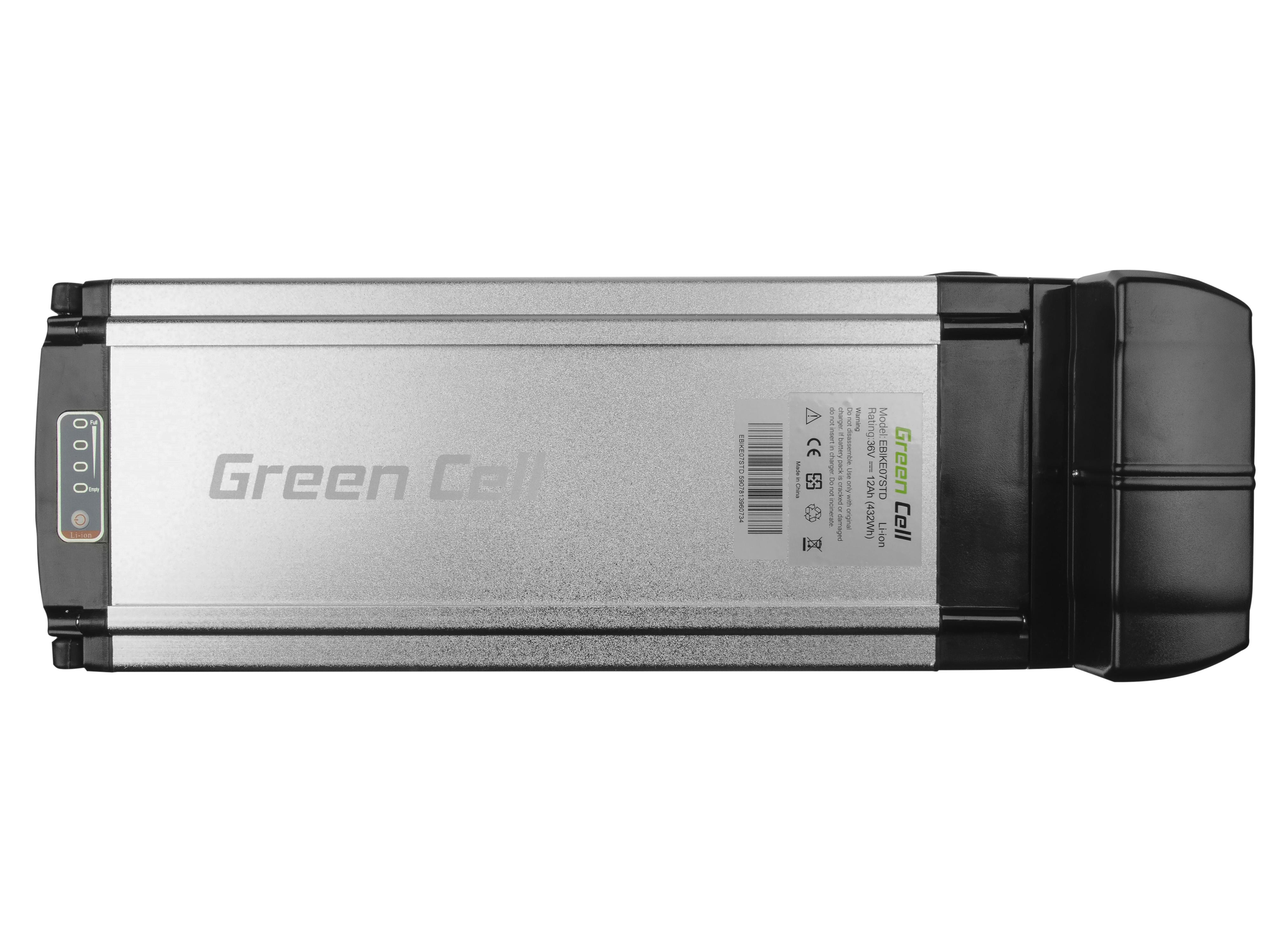 Green Cell Baterie Rear Rack 36V 12Ah 432Wh pro E-Bike Pedelec
