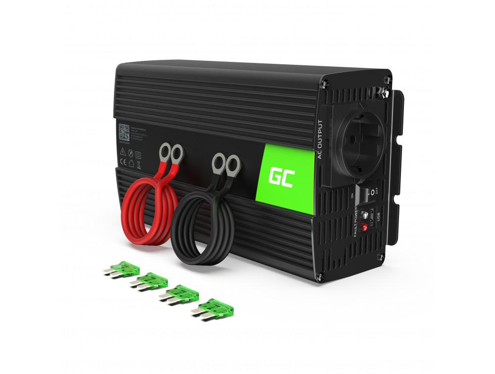 Green Cell autós inverter tiszta szinuszos 24V 230V, 1000W